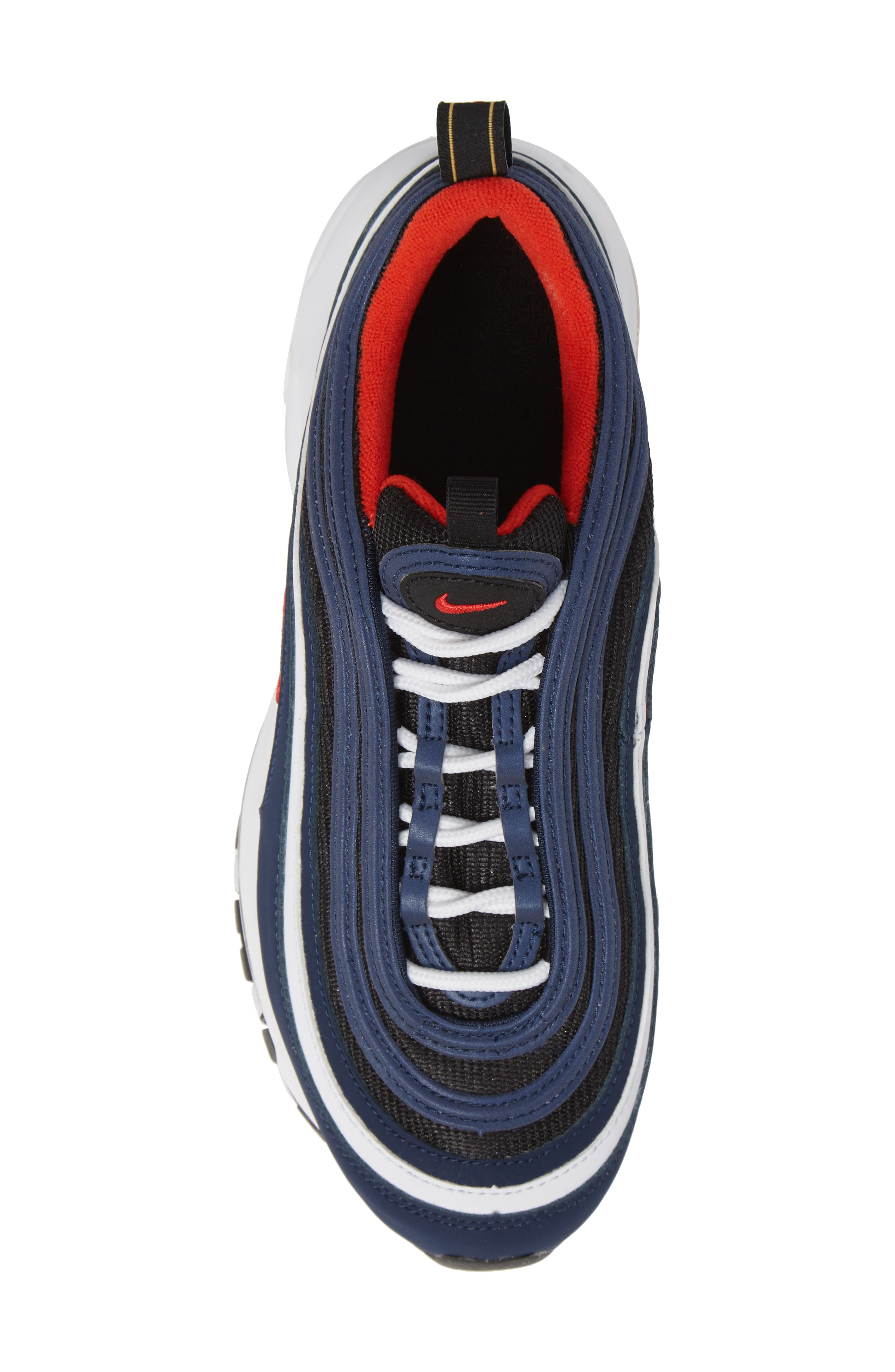 Air Max 97 Sneaker,                             Alternate thumbnail 5, color,                             MIDNIGHT NAVY/RED BLACK WHITE