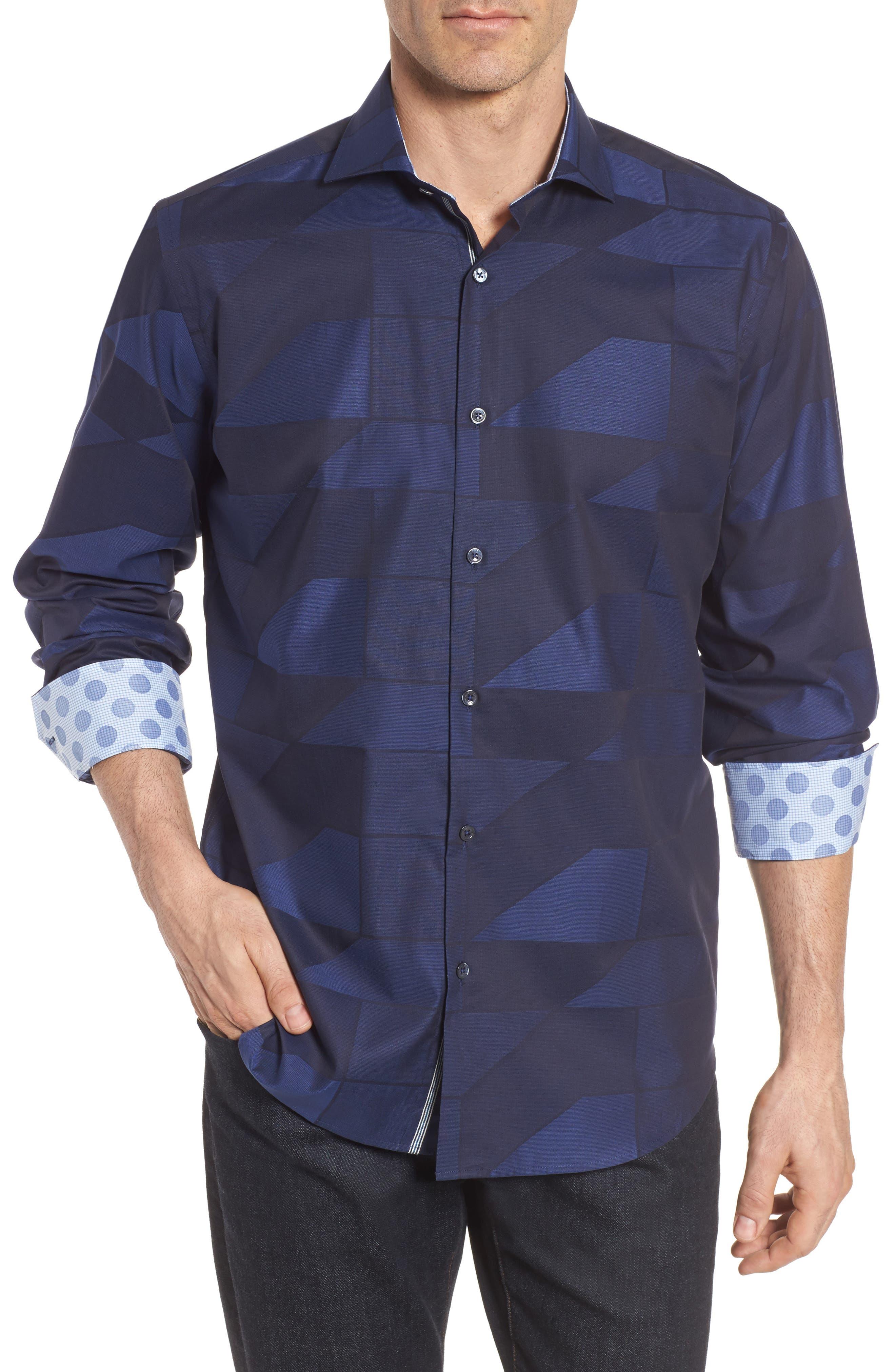Classic Fit Print Sport Shirt,                         Main,                         color, 408