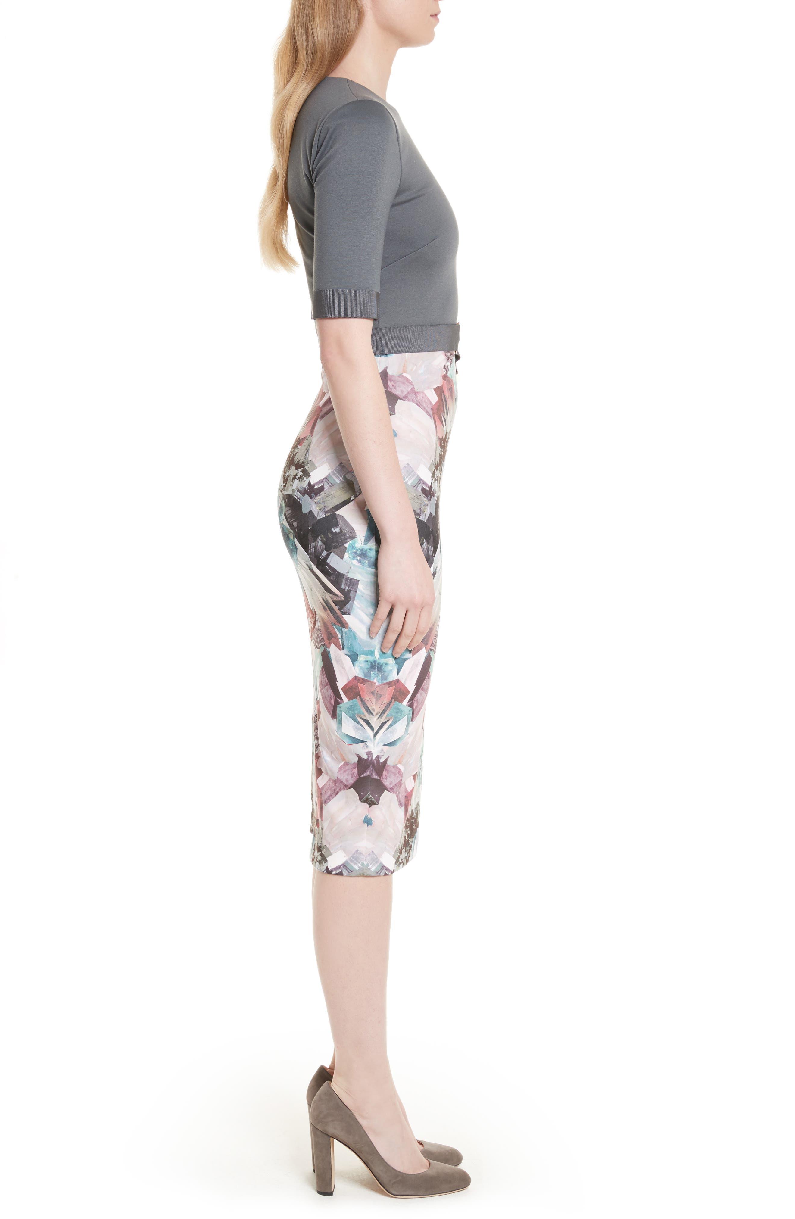 Anaste Mirror Minerals Print Dress,                             Alternate thumbnail 3, color,                             021