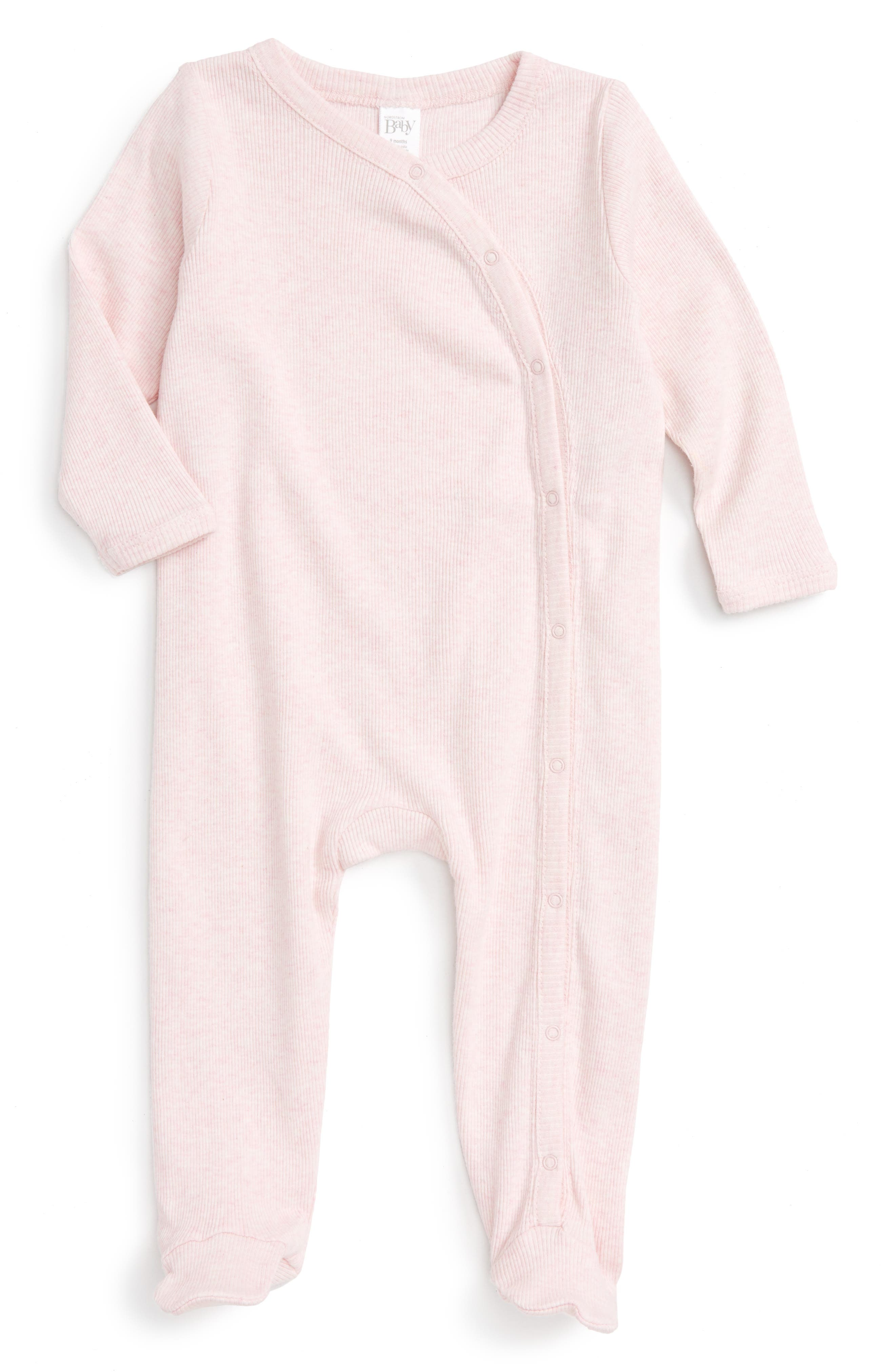 NORDSTROM BABY Rib Knit Footie, Main, color, PINK BABY HEATHER