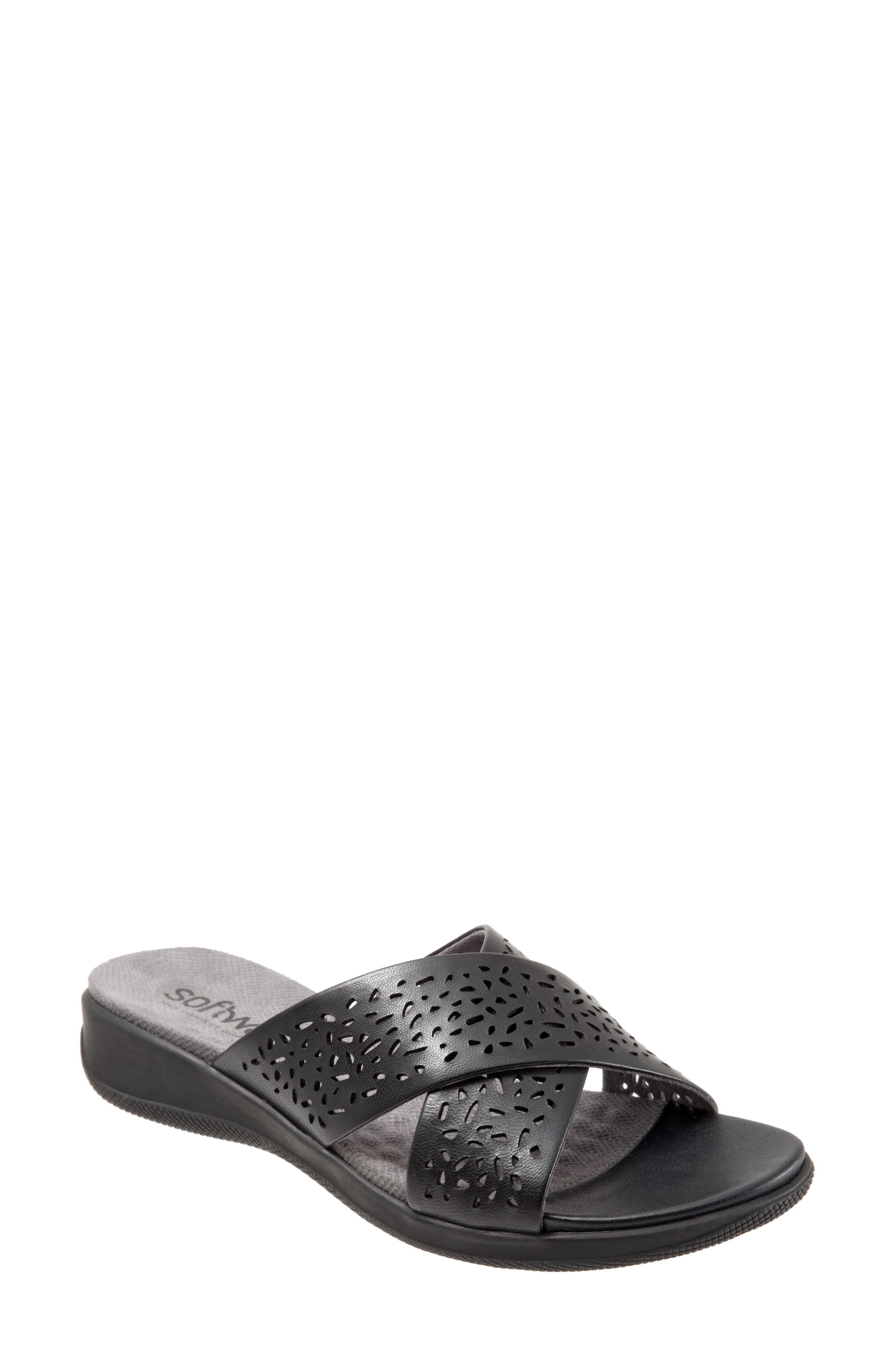 'Tillman' Leather Cross Strap Slide Sandal,                             Main thumbnail 1, color,                             006