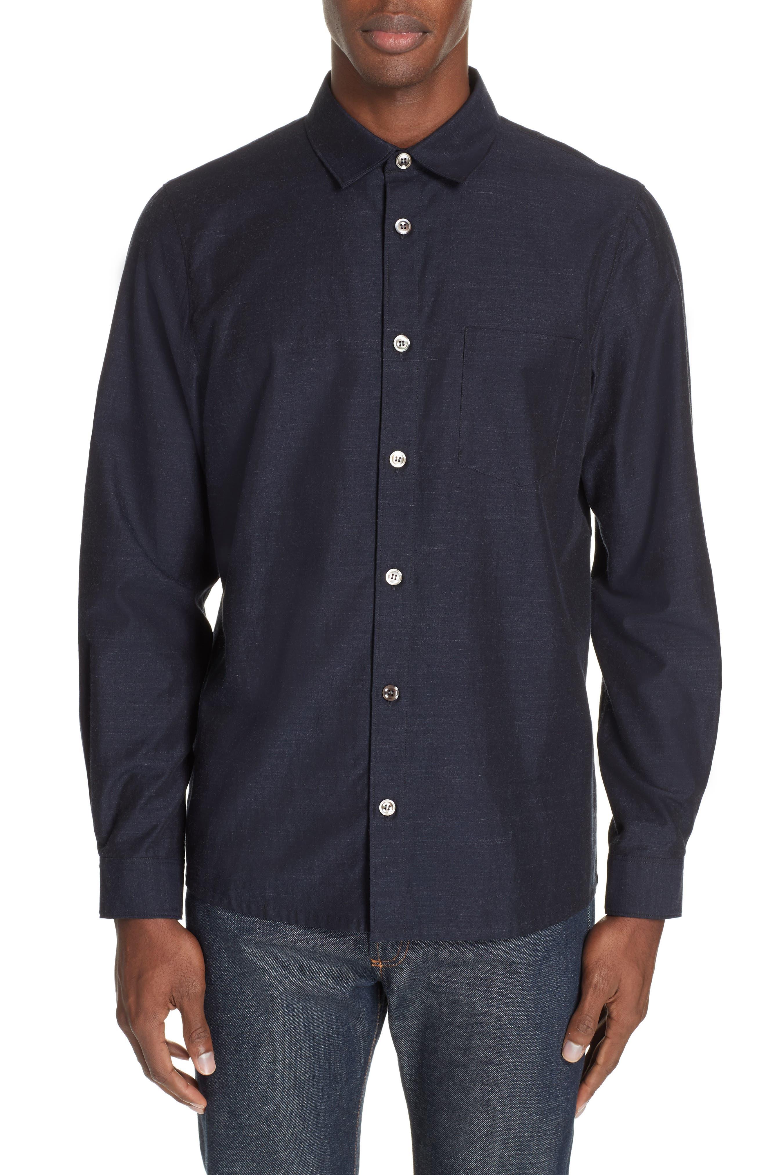 A.P.C. Slubbed Sport Shirt, Main, color, DARK NAVY