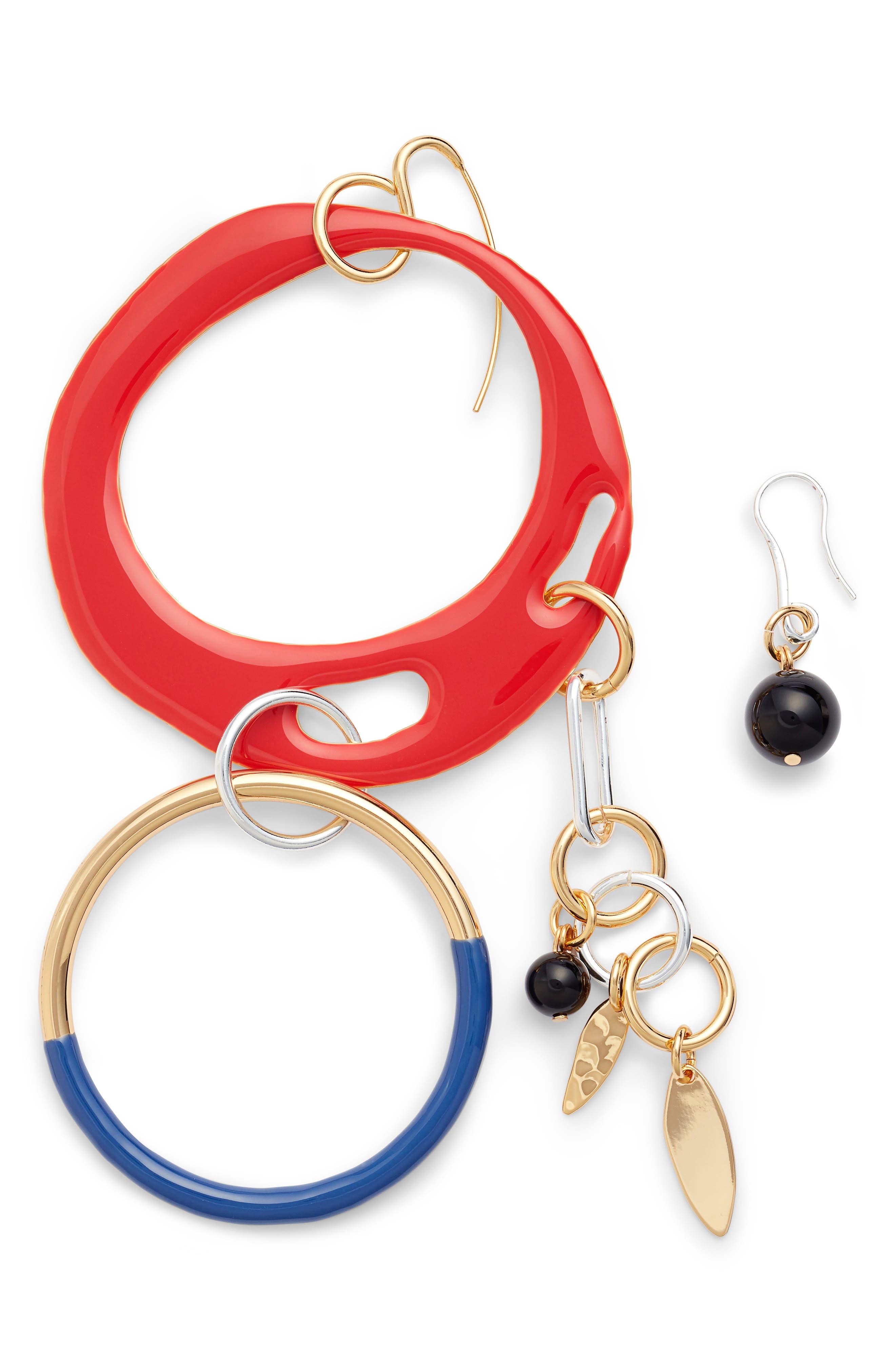Asymmetrical Charm Earrings,                             Main thumbnail 1, color,                             600