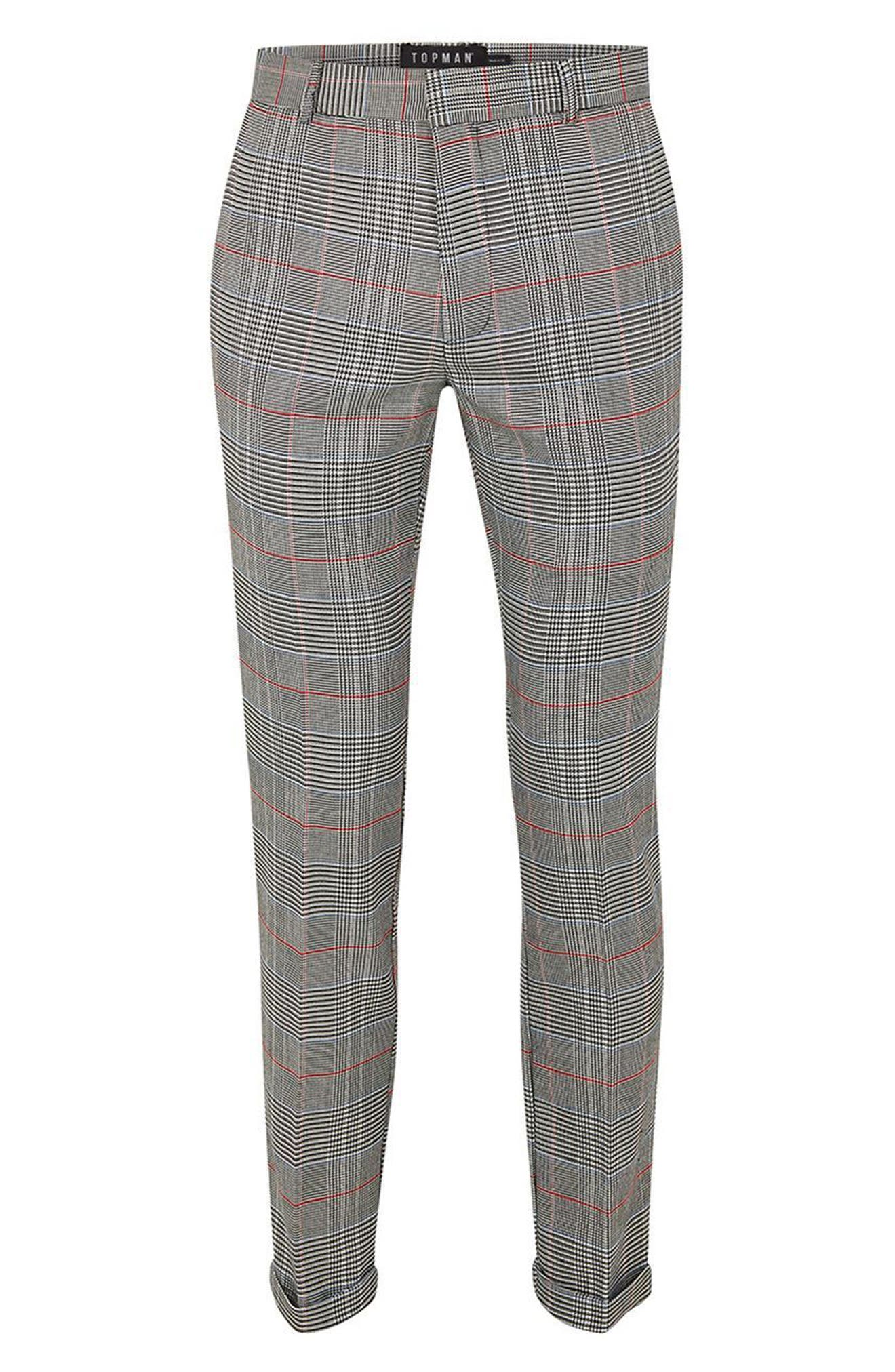 Skinny Fit Check Trousers,                             Alternate thumbnail 4, color,                             020