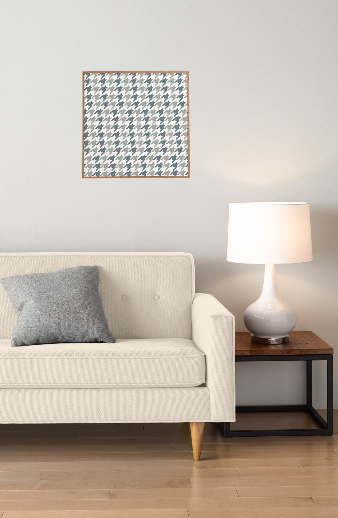 'Houndstooth' Framed Wall Art,                             Alternate thumbnail 3, color,                             BLUE