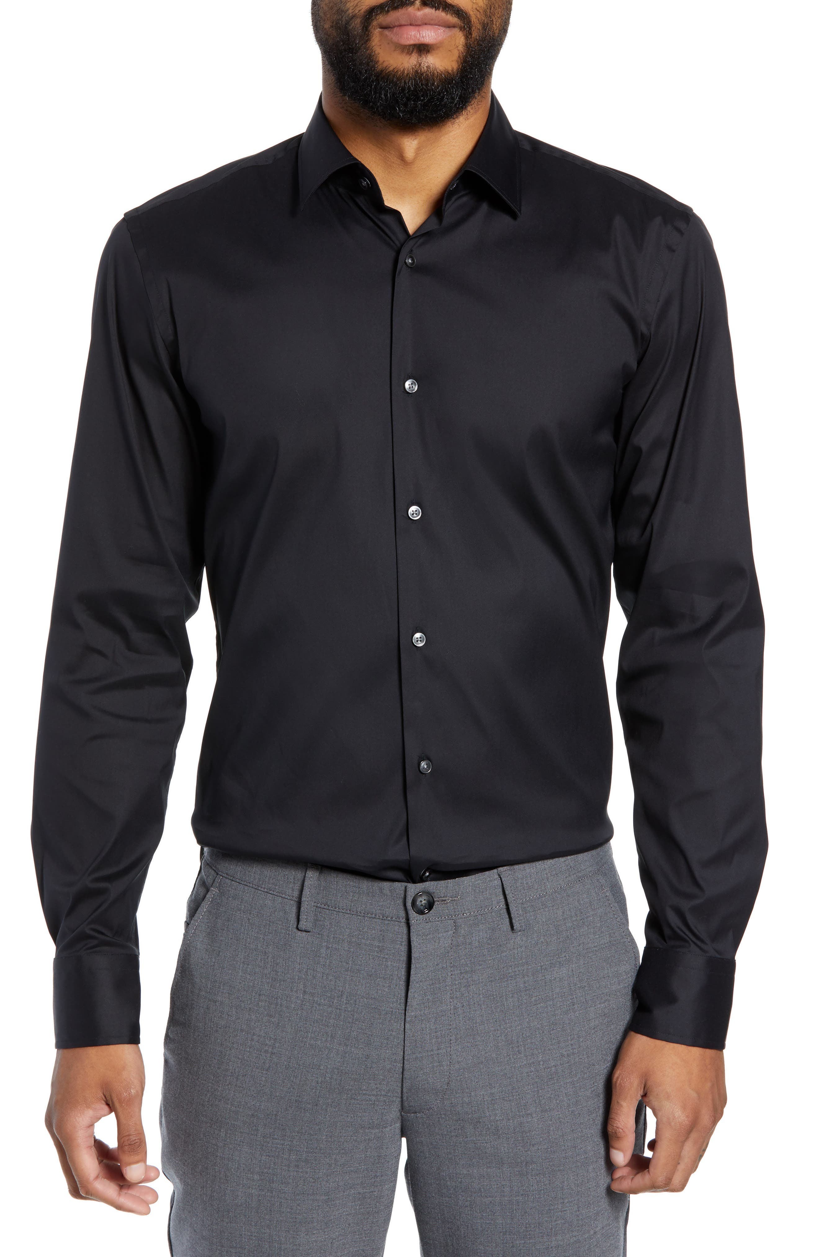 Jenno Slim Fit Stretch Solid Dress Shirt,                             Main thumbnail 1, color,                             BLACK
