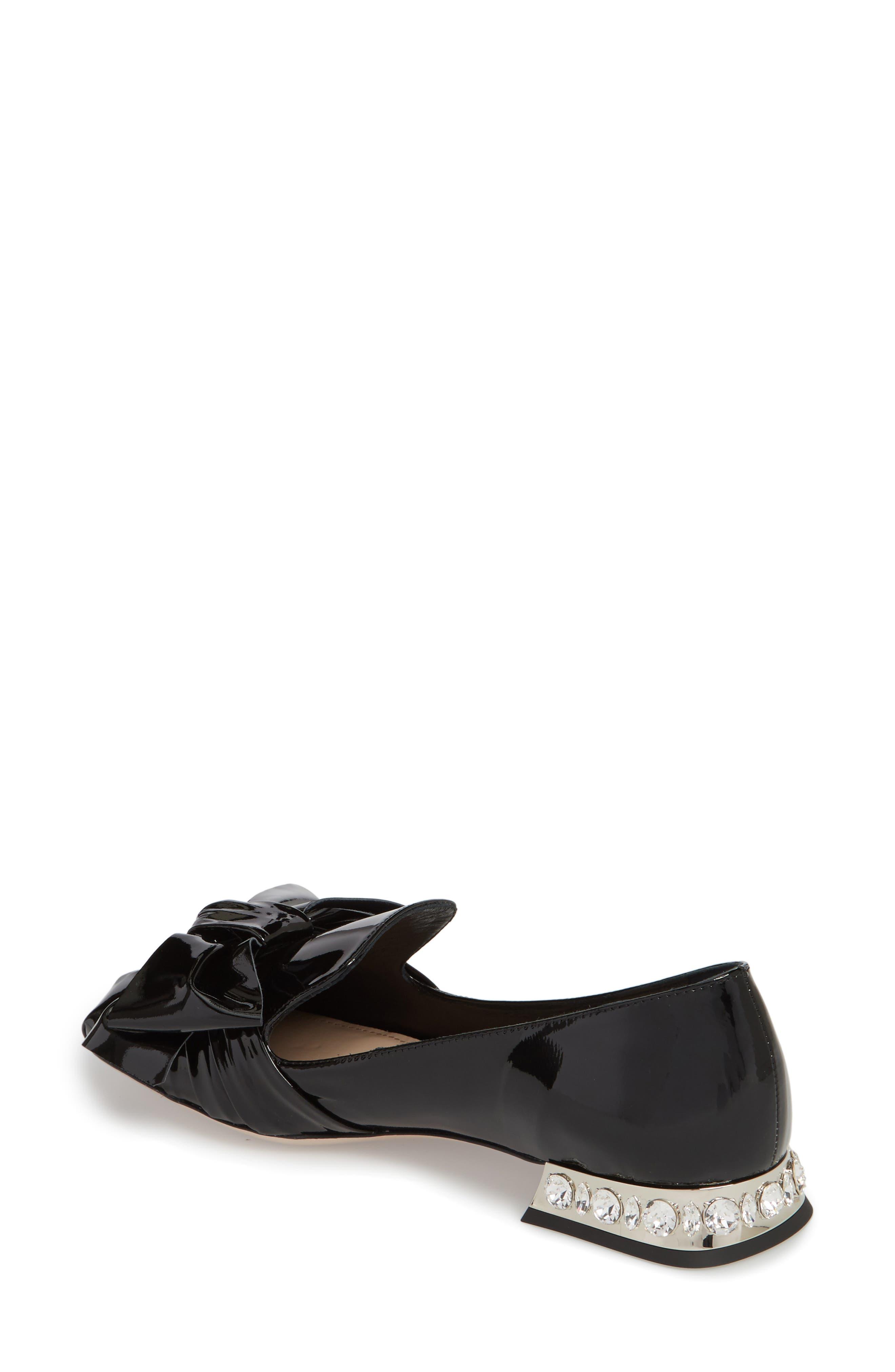 Embellished Heel Bow Loafer,                             Alternate thumbnail 2, color,                             BLACK