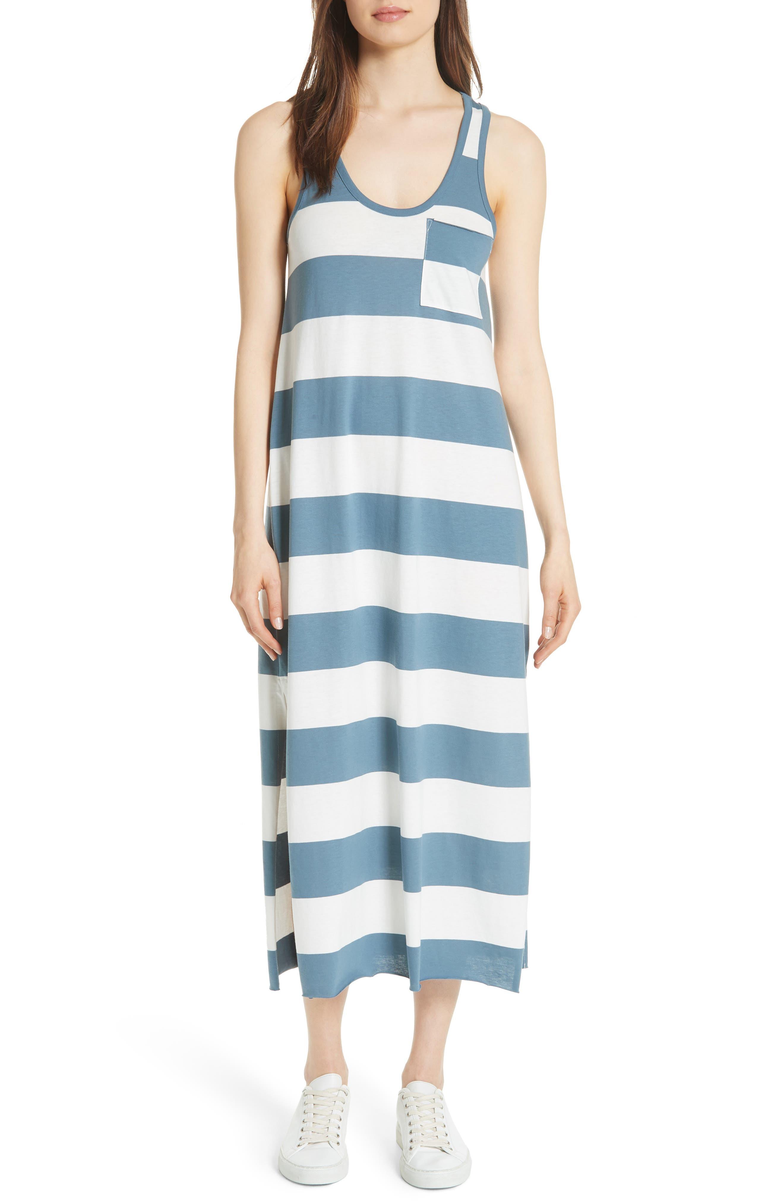 Stripe Mercerized Jersey Dress,                         Main,                         color, CHALK/ PRUSSIAN