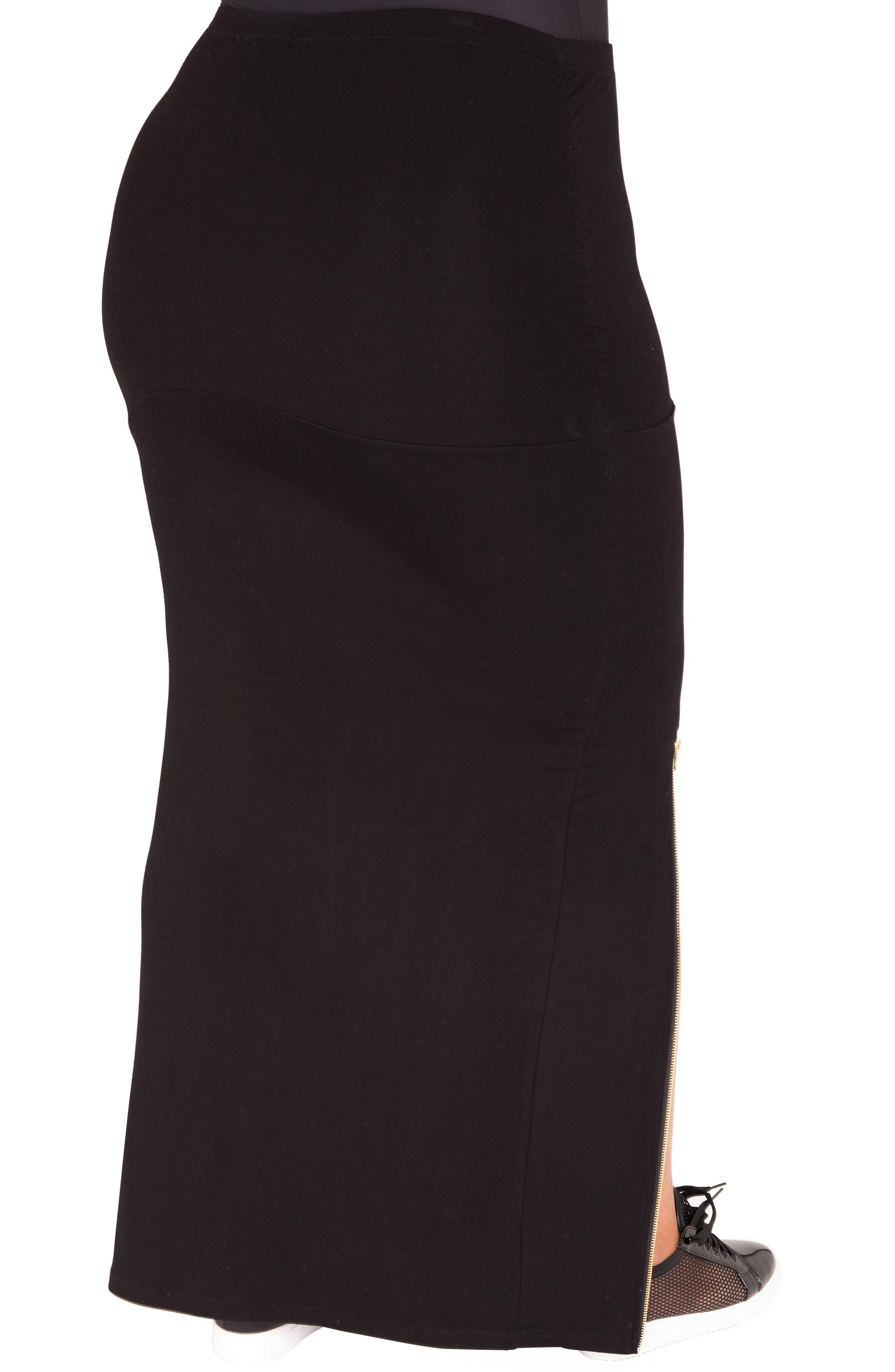 Kandi Zip Slit Maxi Skirt,                             Alternate thumbnail 3, color,                             BLACK