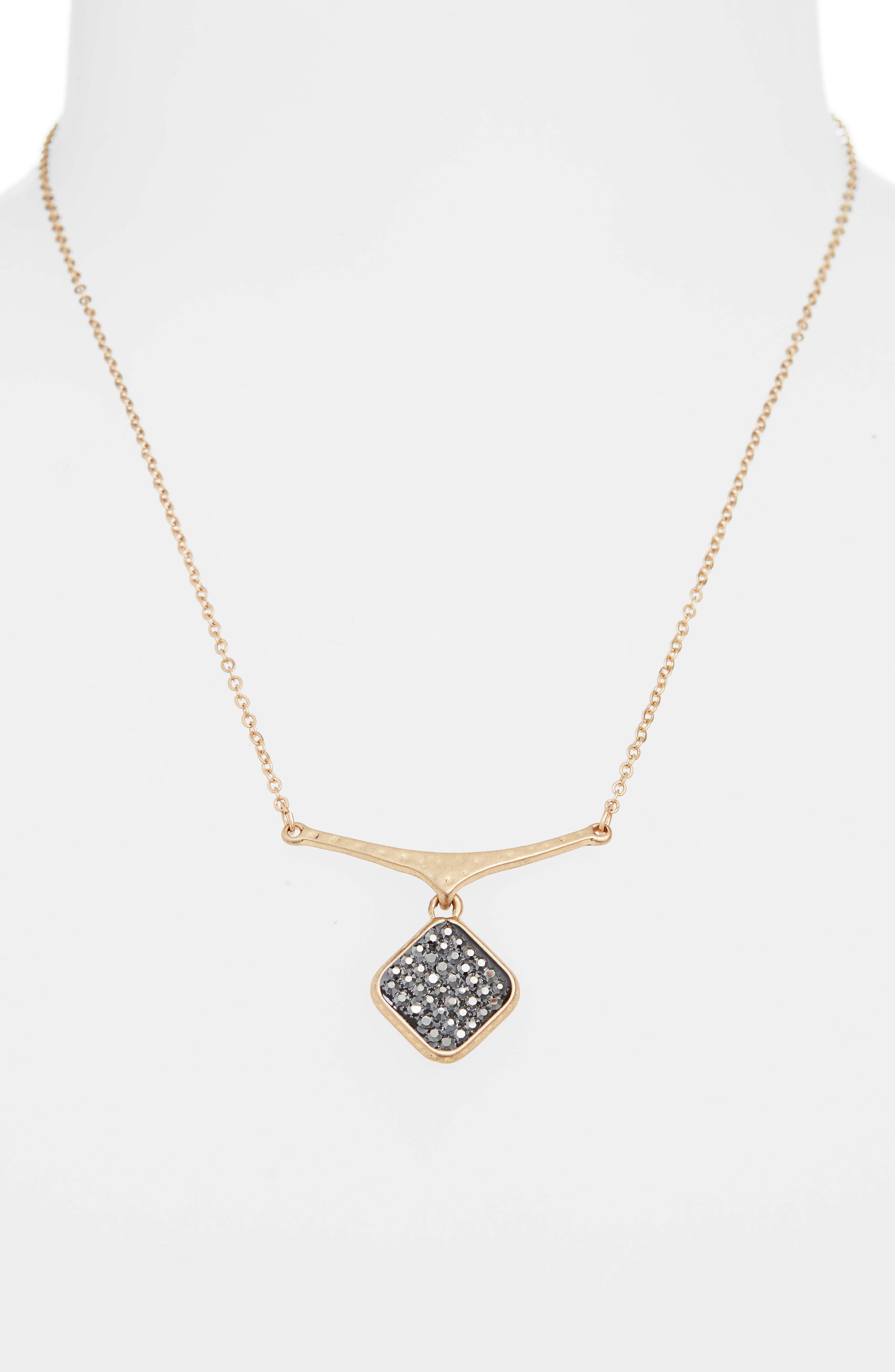 Short Pavé Shield Pendant Necklace,                             Alternate thumbnail 2, color,                             BLACK DIAMOND- GOLD
