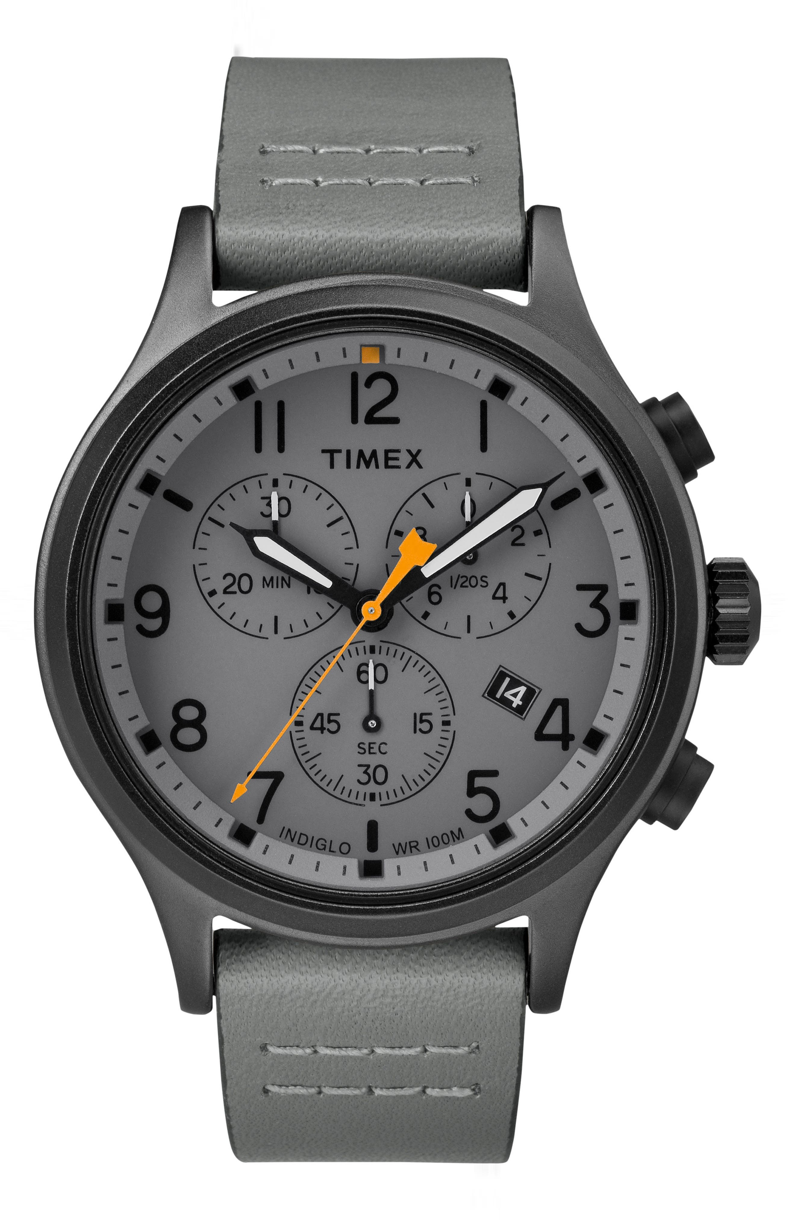 Allied Chronograph Leather Strap Watch, 42mm,                         Main,                         color, GREY