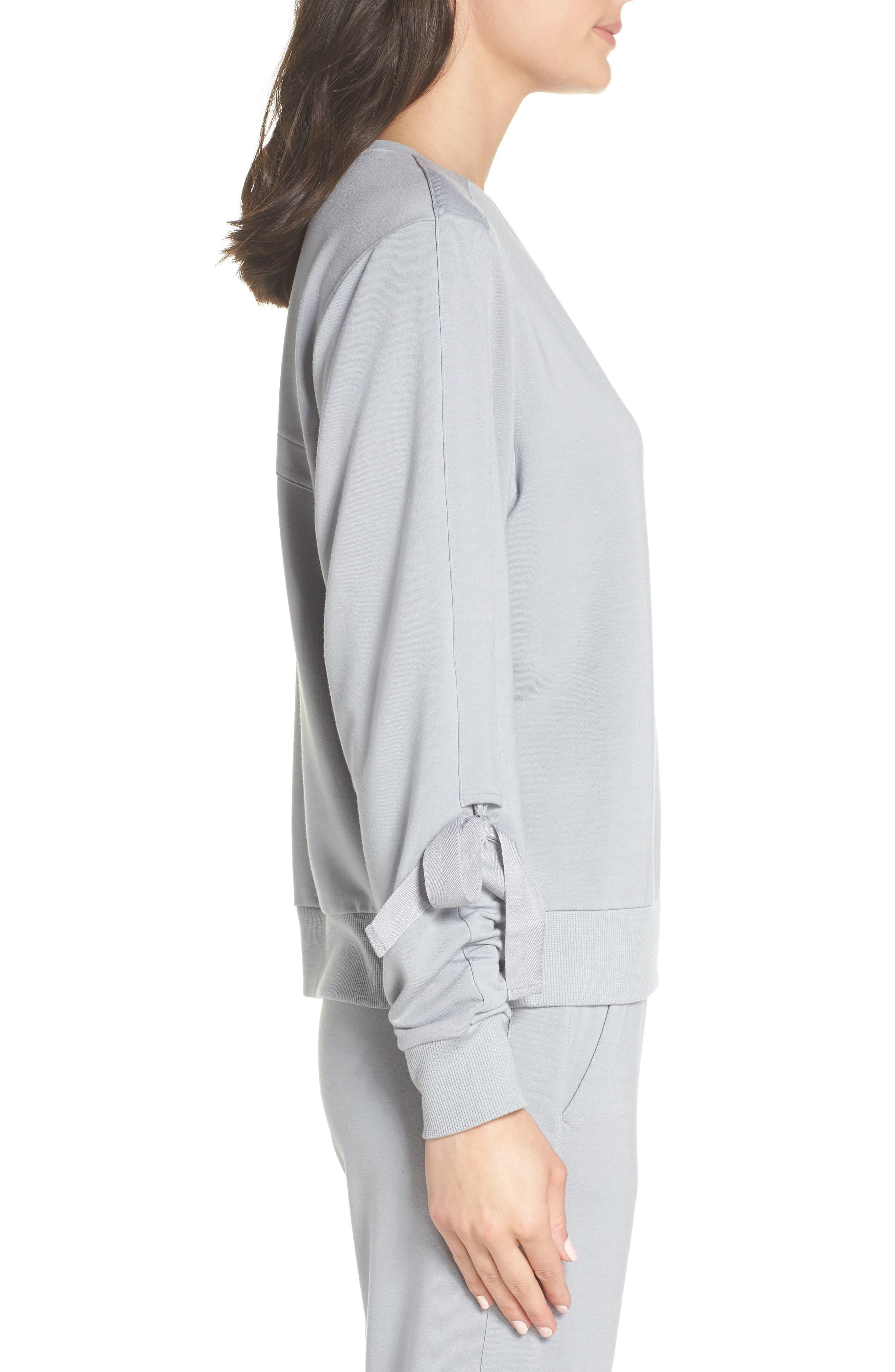 Gather Sleeve Sweatshirt,                             Alternate thumbnail 3, color,                             GREY WOLF
