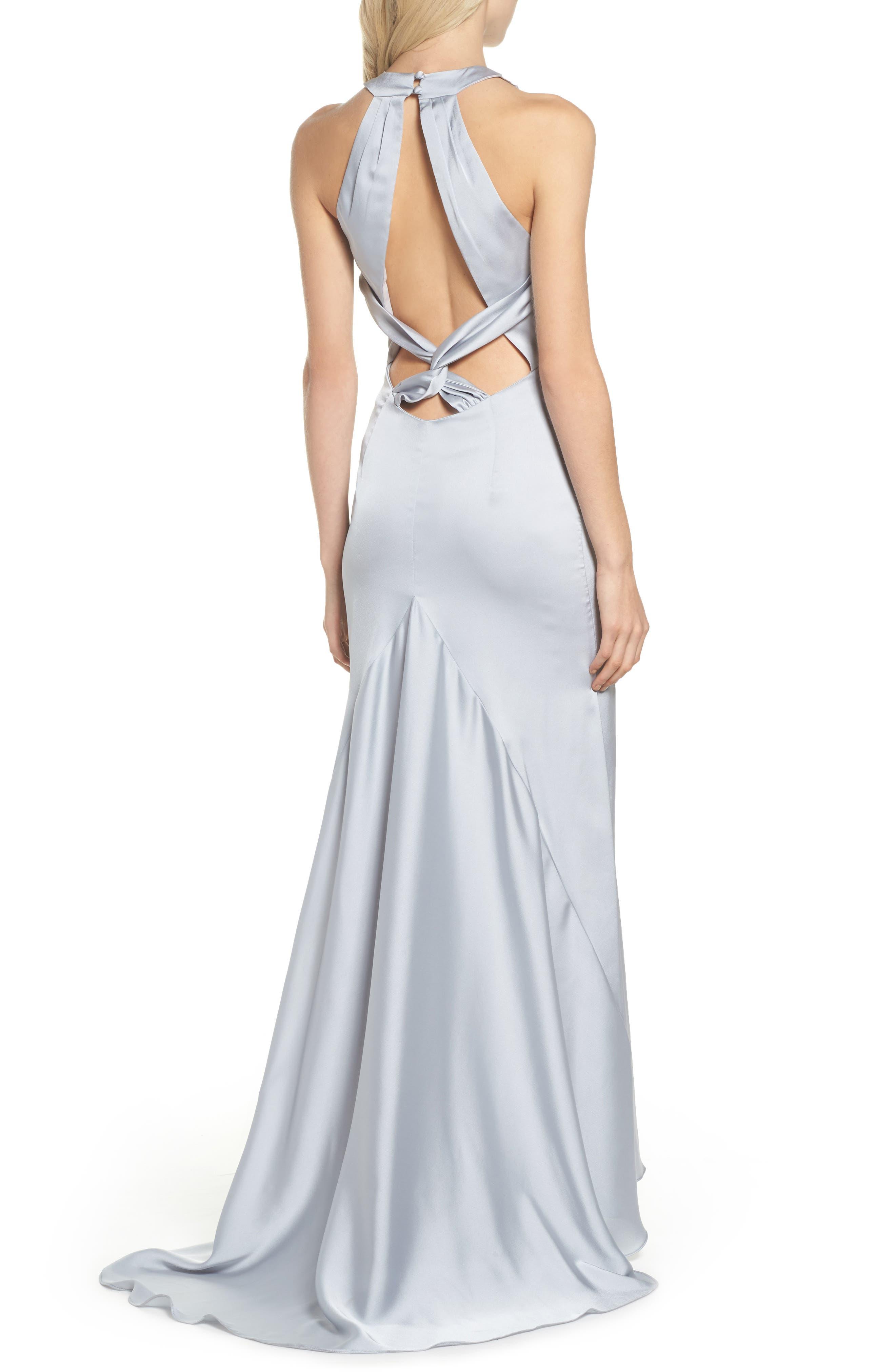 Amara Cross Back Satin Gown,                             Alternate thumbnail 2, color,                             044