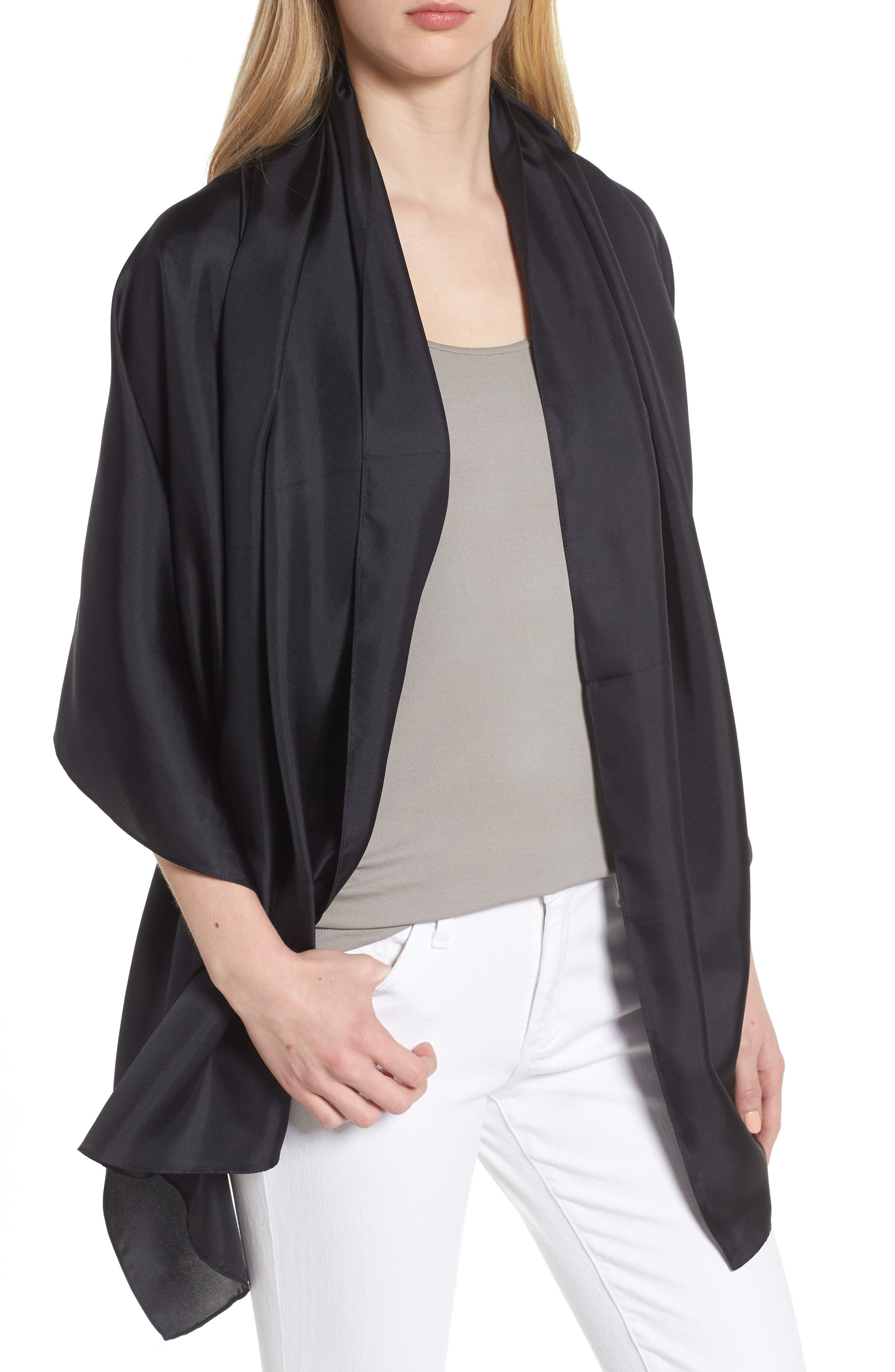 Everyday Silk Wrap,                         Main,                         color, BLACK