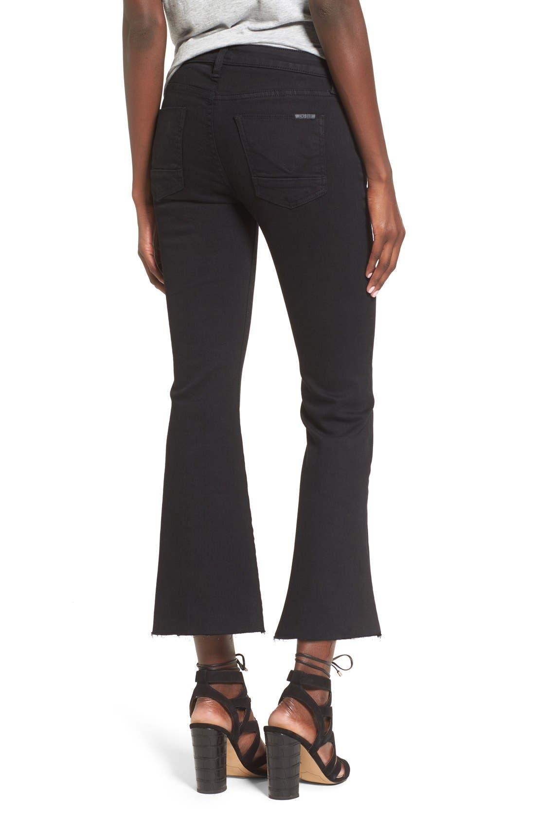 'Mia' Raw Hem Crop Flare Jeans,                             Alternate thumbnail 3, color,                             001