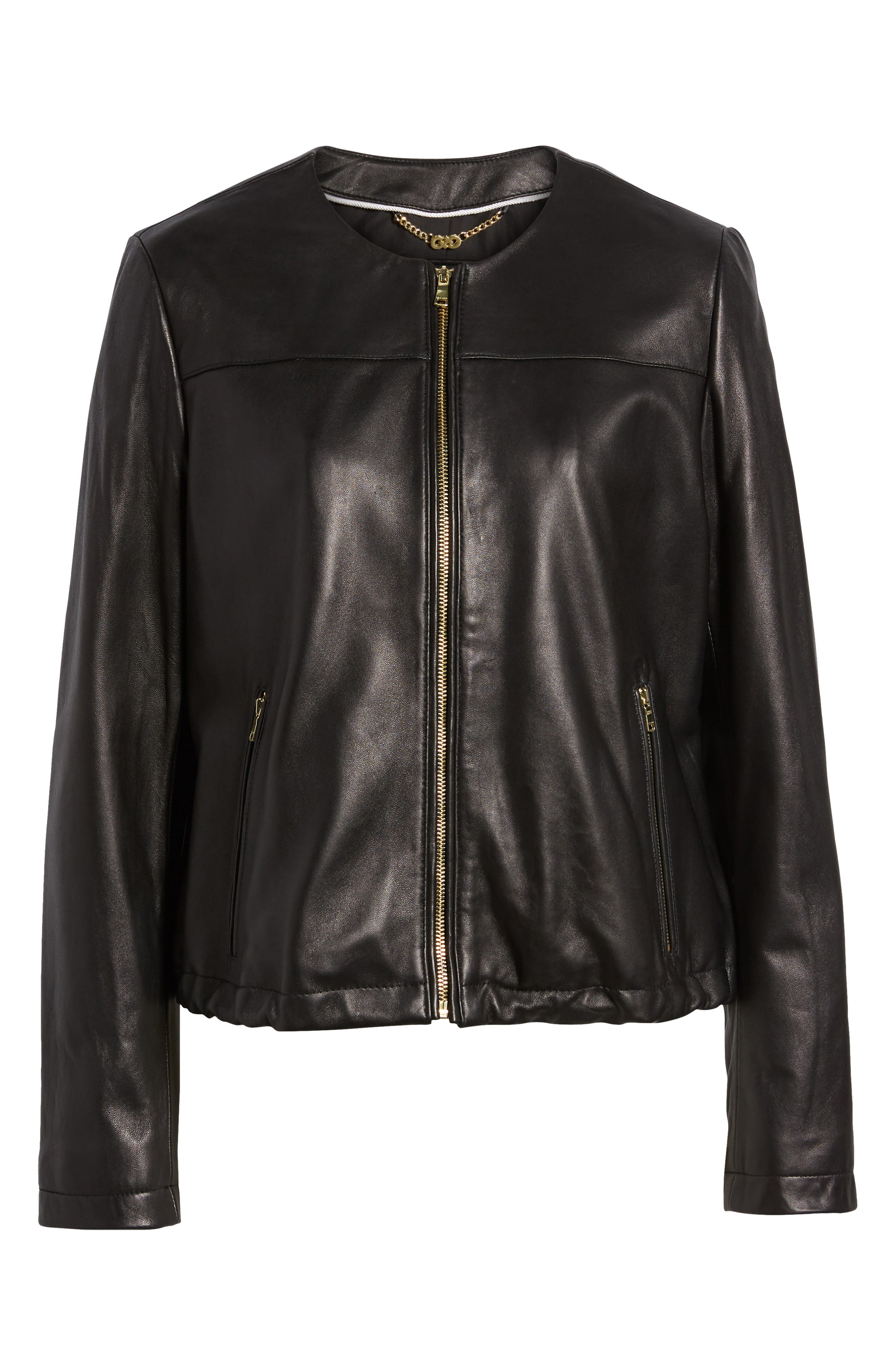 Lambskin Leather Jacket,                             Alternate thumbnail 5, color,                             001