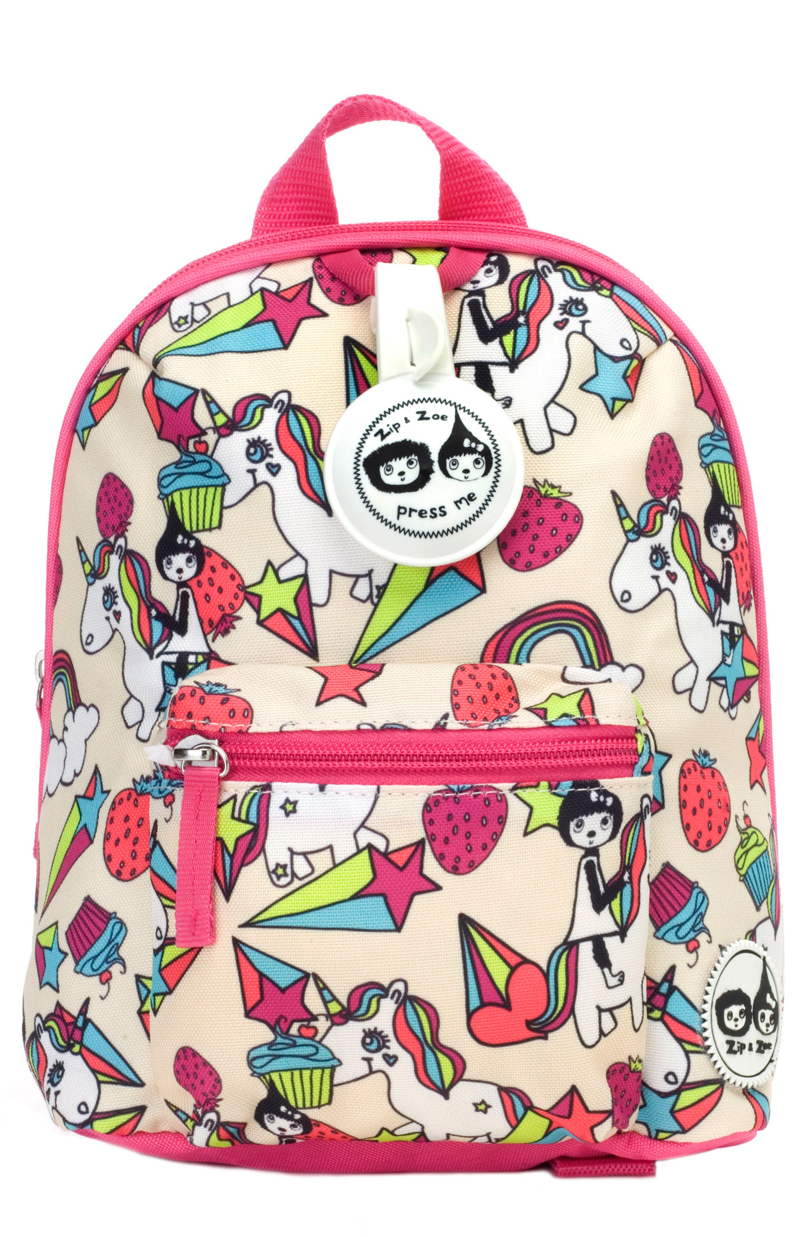BABYMEL,                             Zip & Zoe Unicorn Mini Backpack,                             Main thumbnail 1, color,                             UNICORN