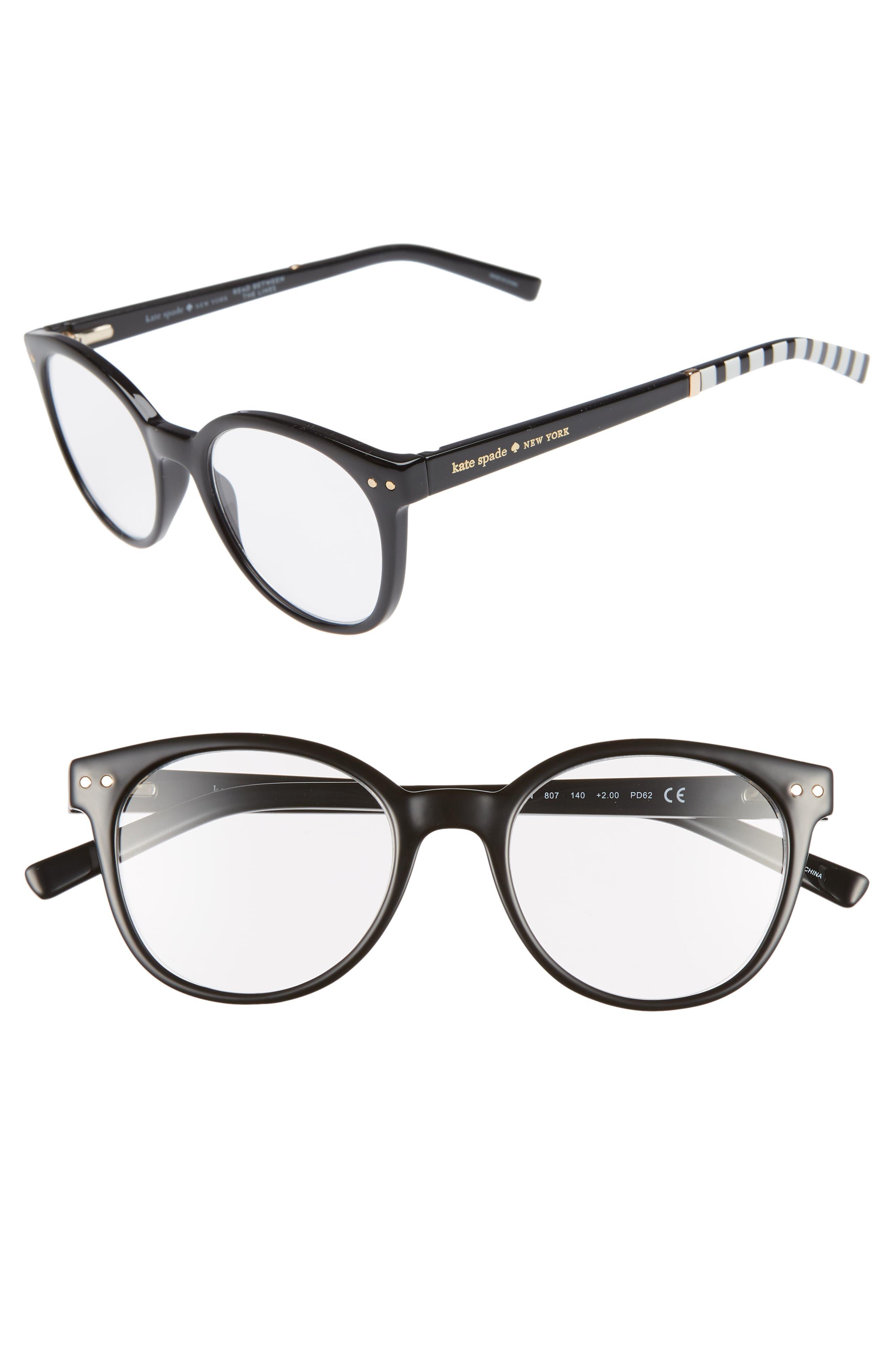 kaylin 49mm reading glasses,                             Main thumbnail 1, color,                             BLACK