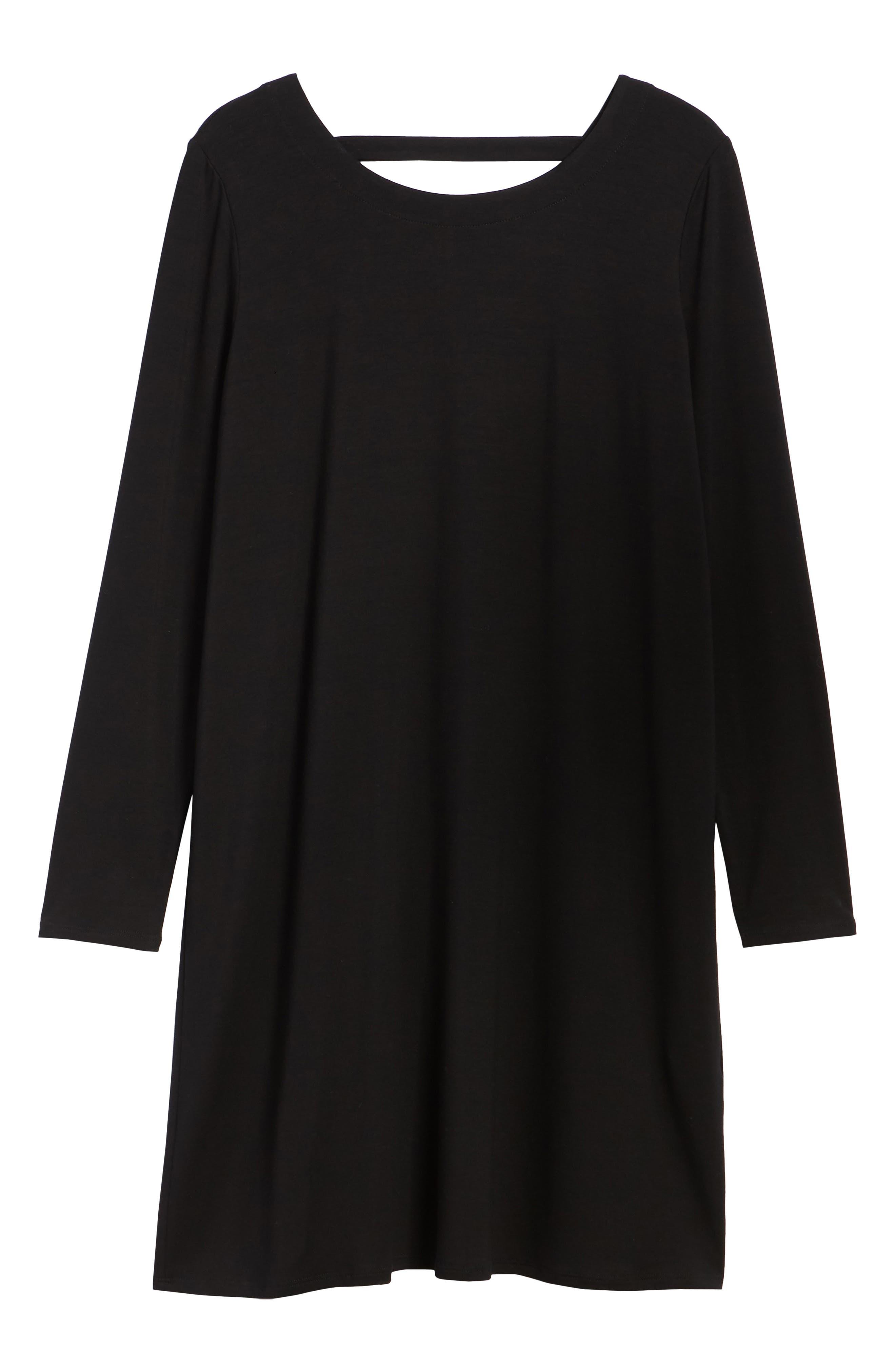 V-Back Stretch Tencel<sup>®</sup> Lyocell Shift Dress,                             Alternate thumbnail 7, color,                             001