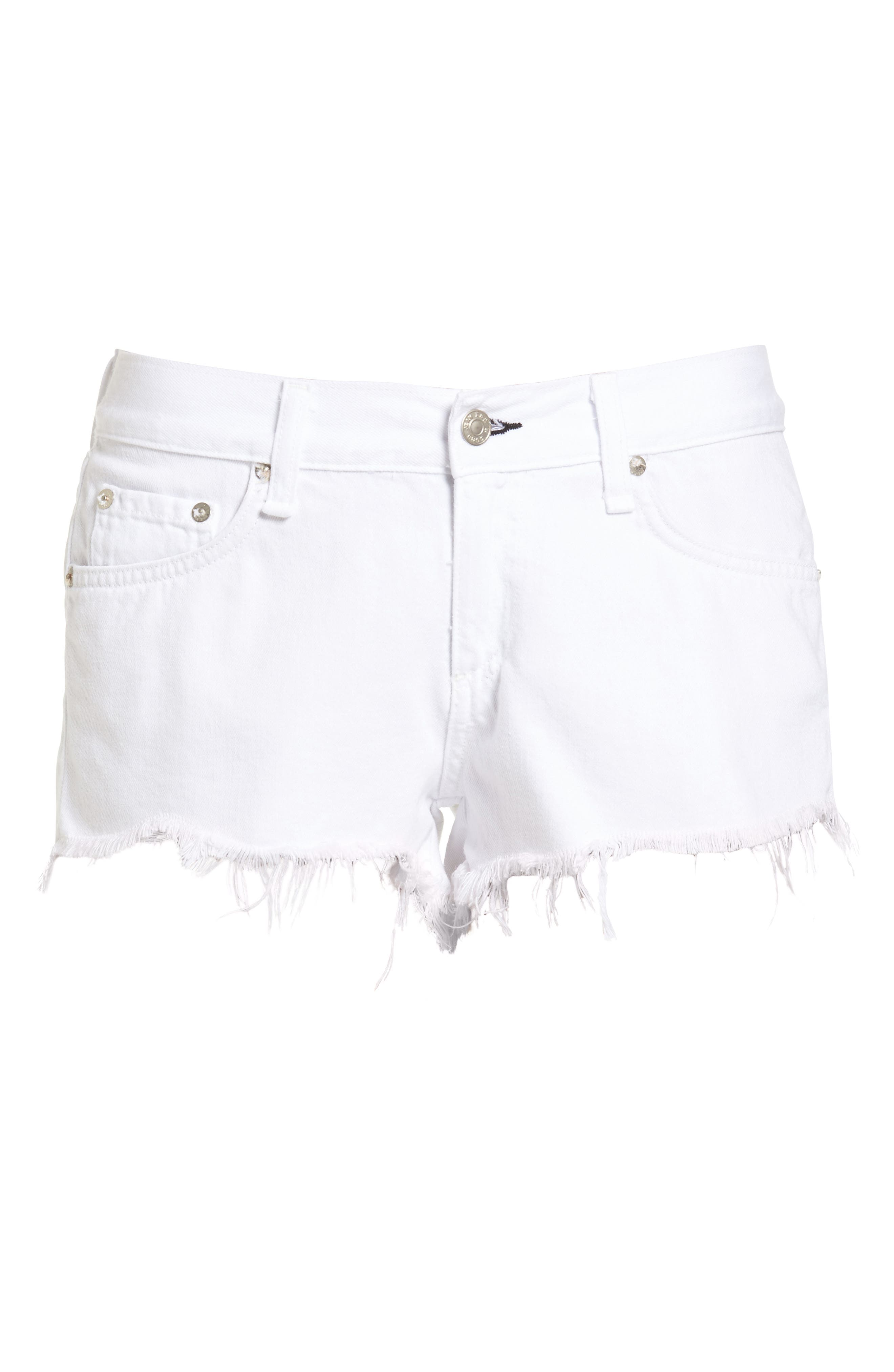 Ripped Cutoff Denim Shorts,                             Alternate thumbnail 6, color,                             126