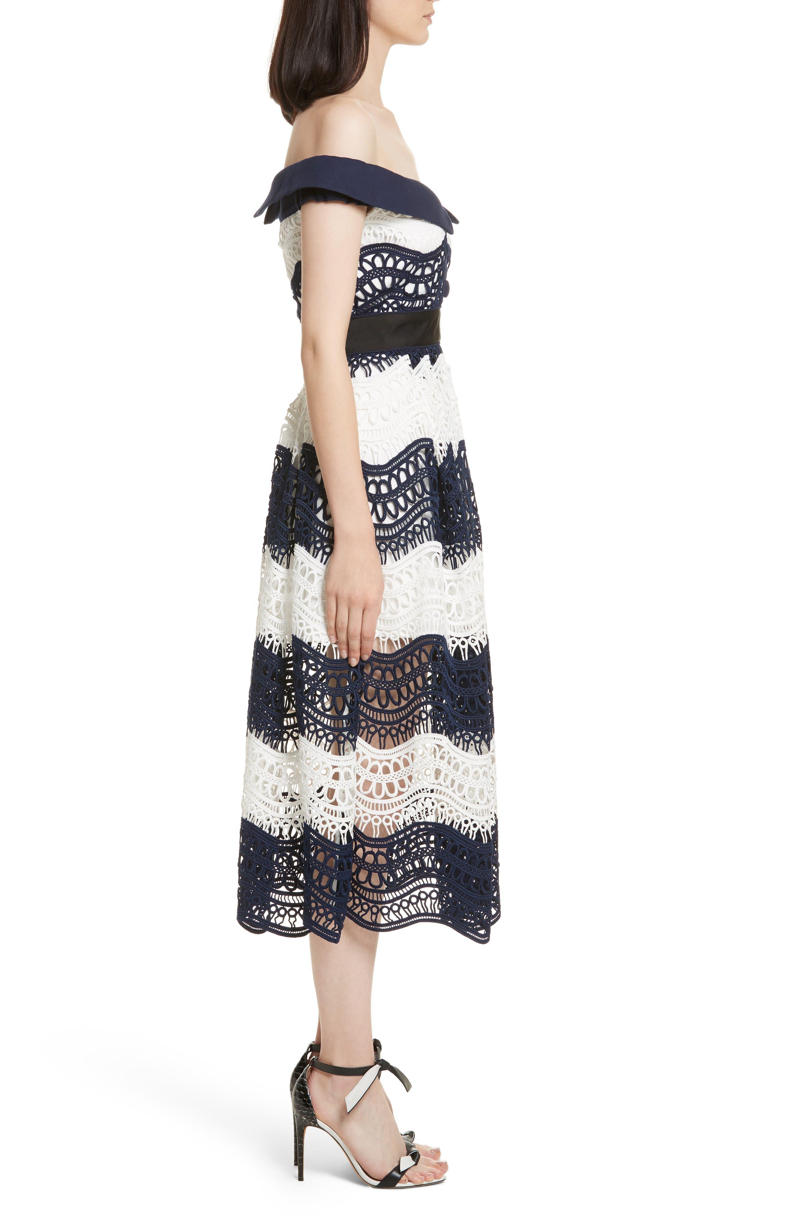Wave Lace Off the Shoulder Midi Dress,                             Alternate thumbnail 3, color,                             100