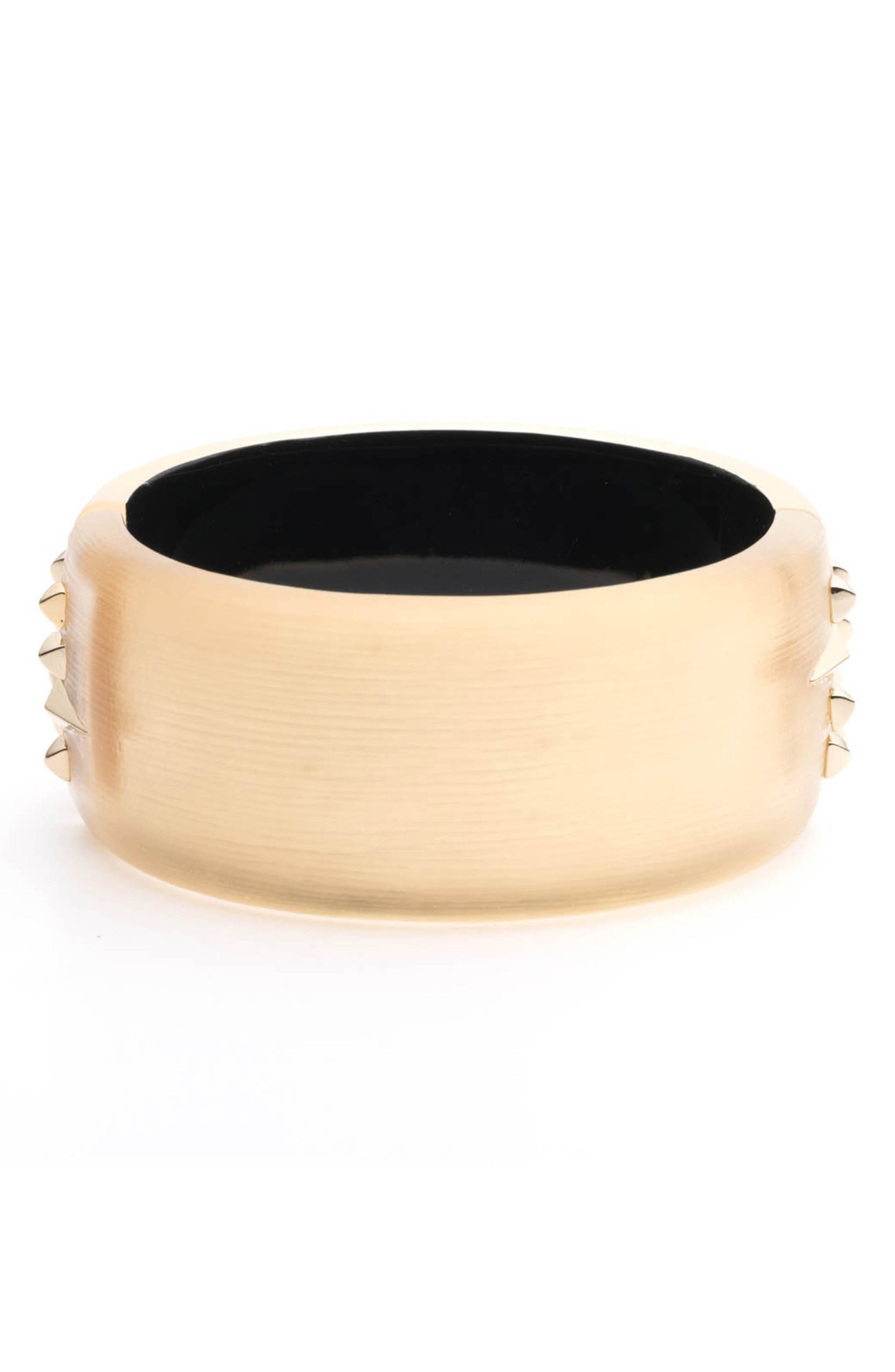 Golden Studded Hinge Bracelet,                             Alternate thumbnail 3, color,                             GOLD