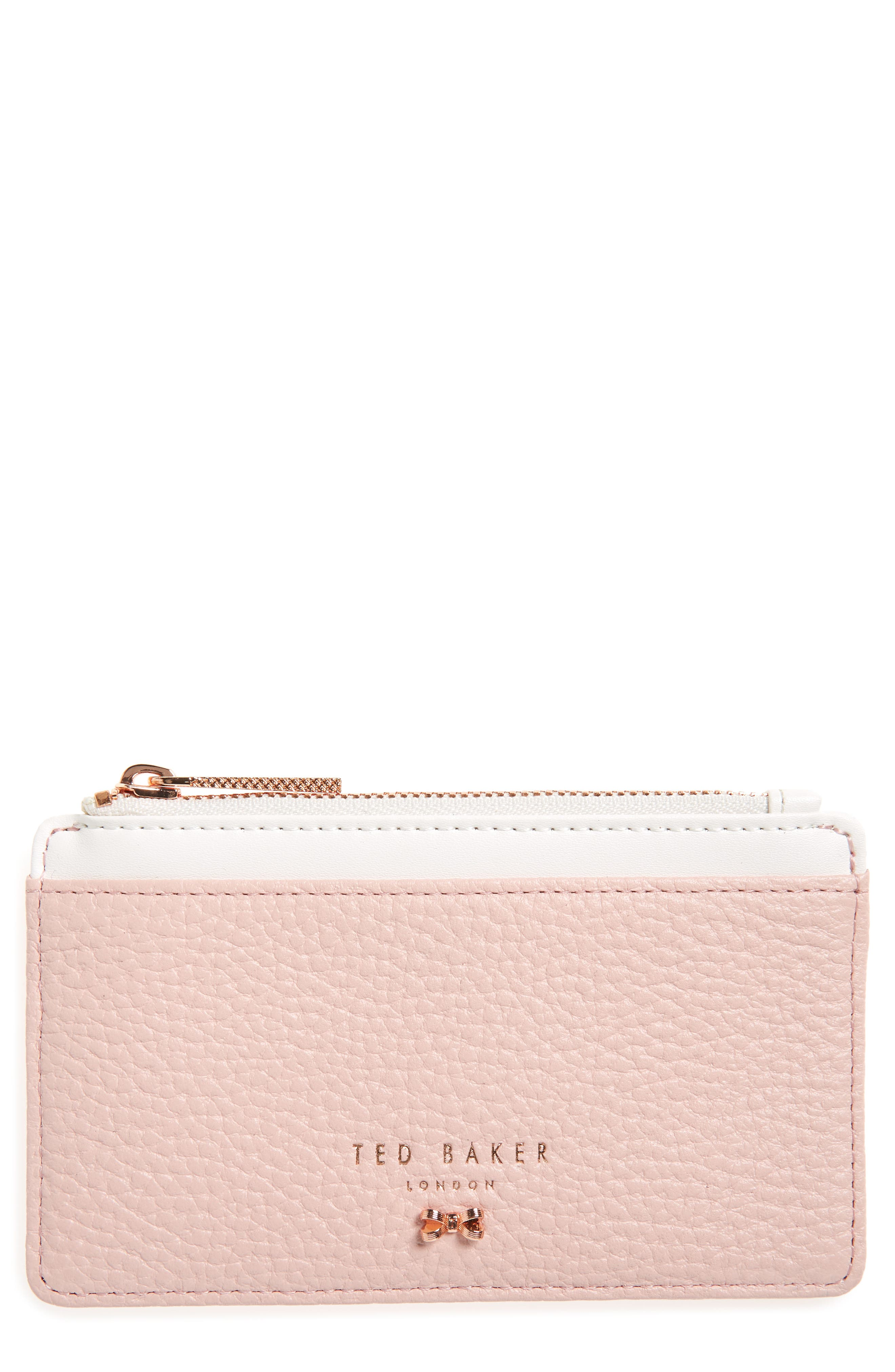 Zip Leather Card Holder,                             Main thumbnail 1, color,                             LIGHT PINK