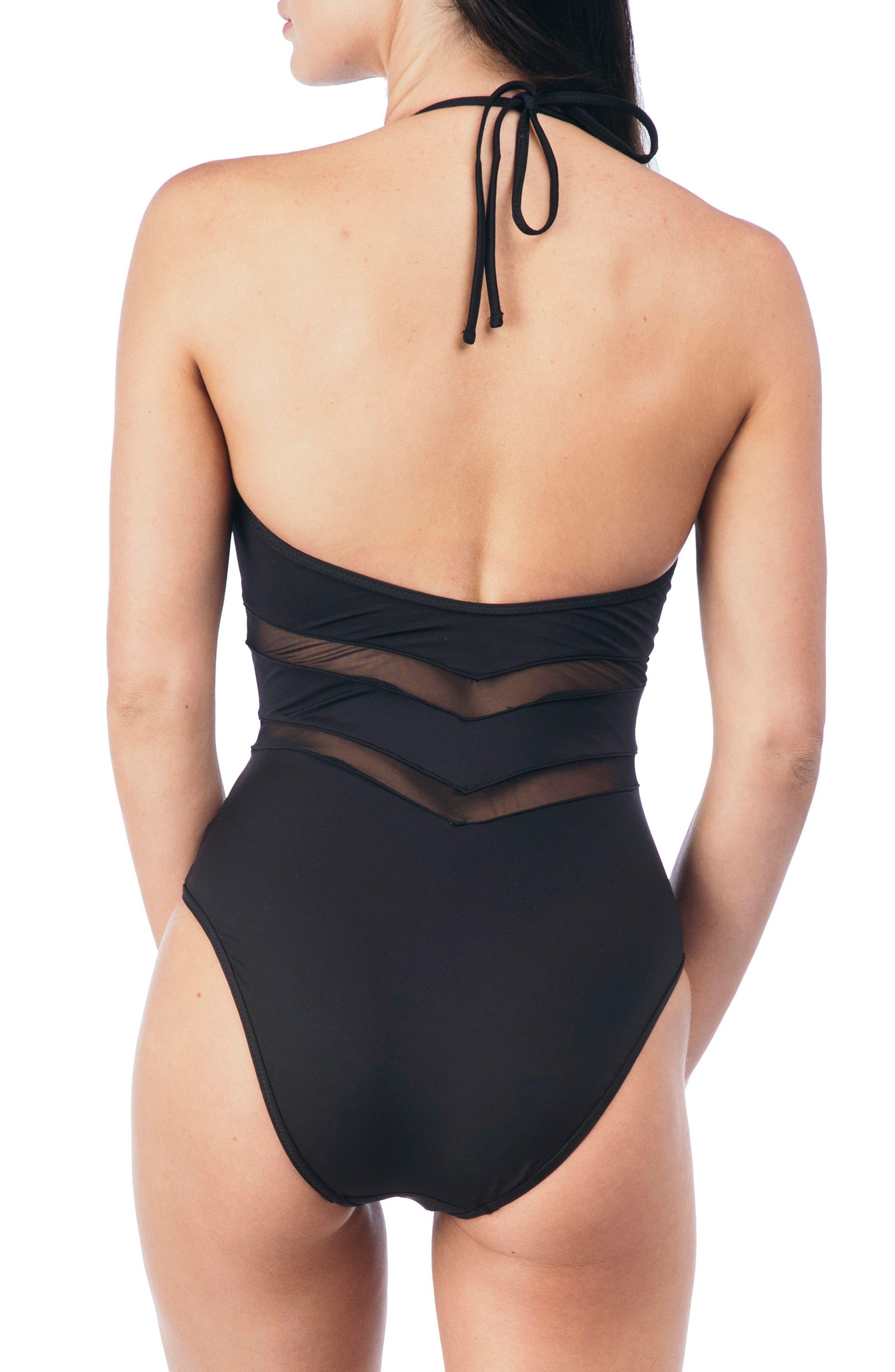Mesh One-Piece Swimsuit,                             Alternate thumbnail 2, color,                             001