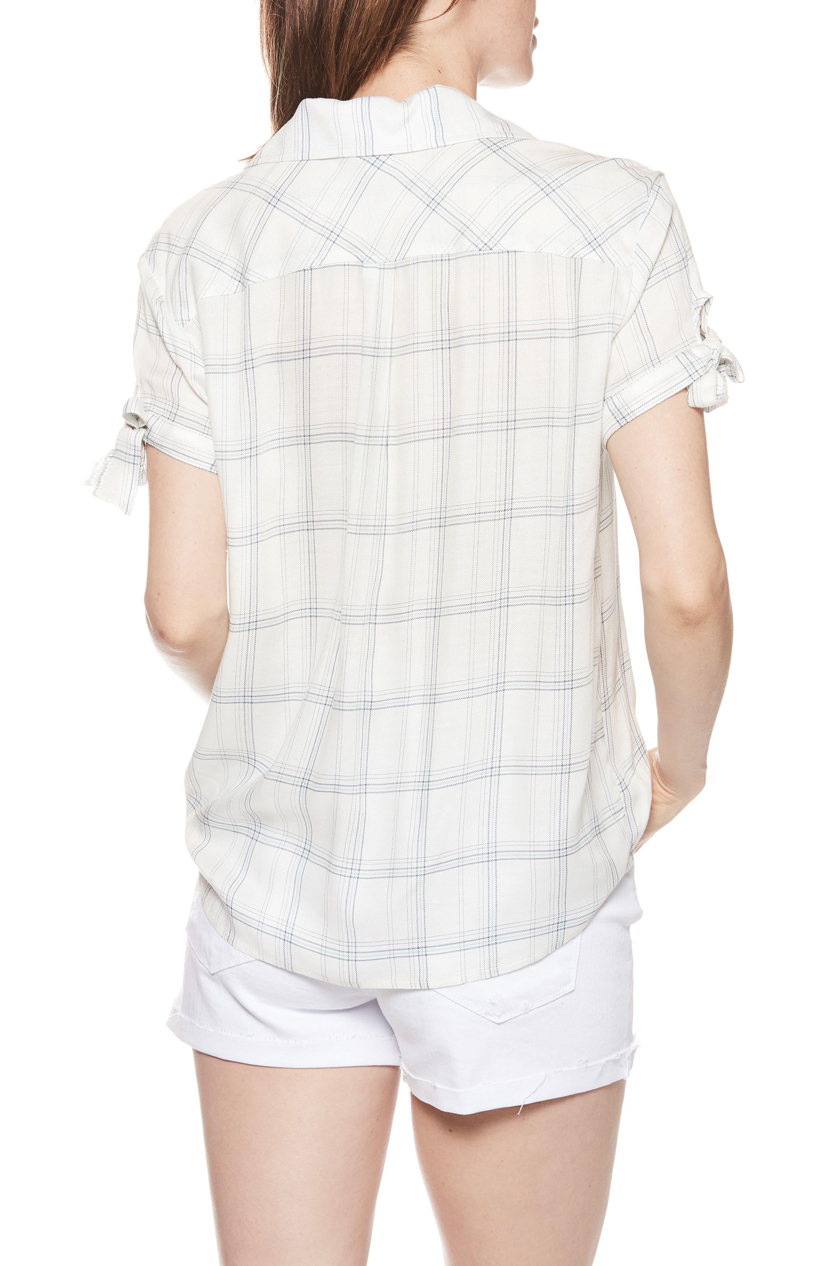 Avery Plaid Shirt,                             Alternate thumbnail 2, color,                             WHITE / BIJOU BLUE