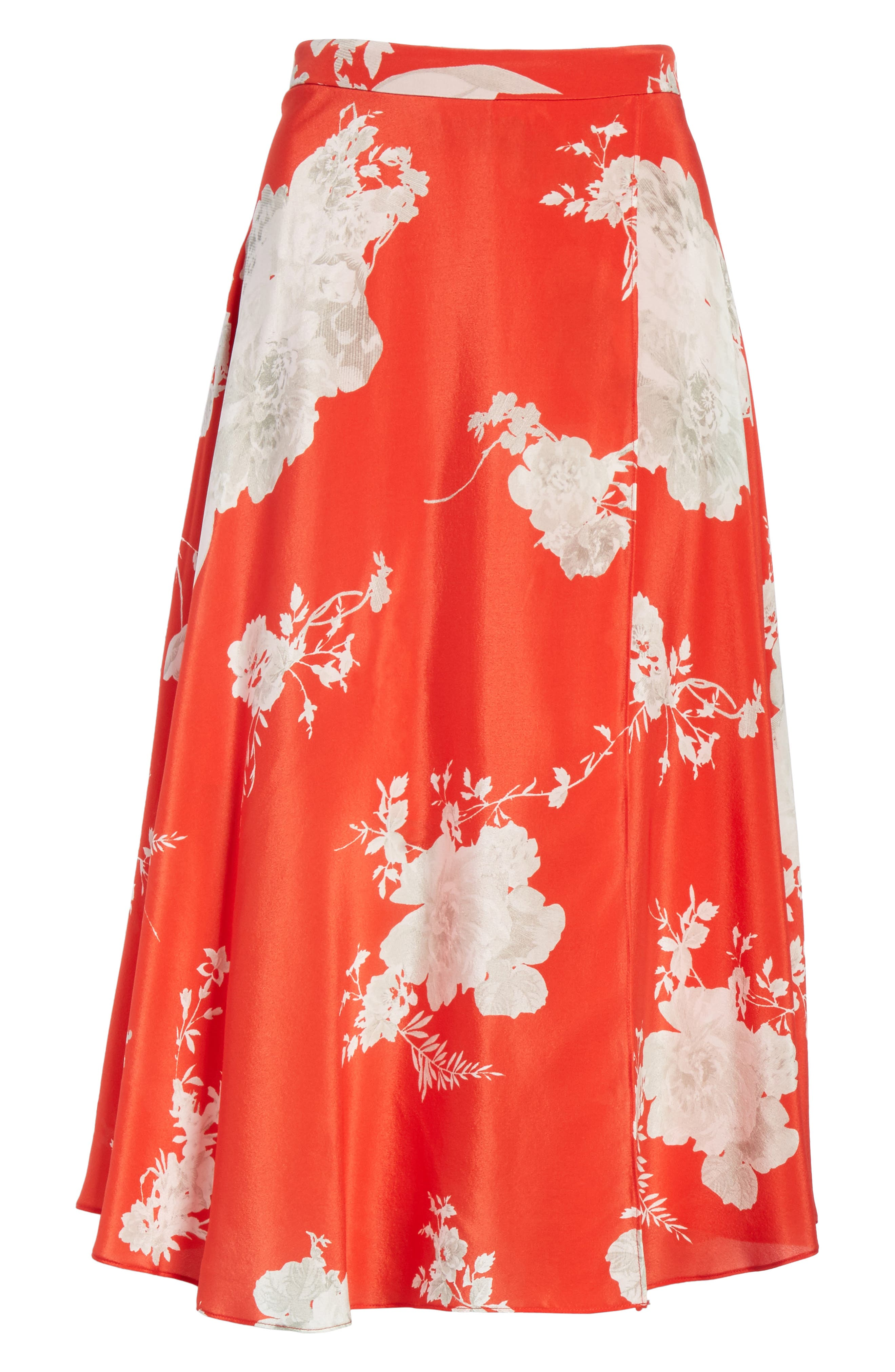 ALICE + OLIVIA,                             Nanette Faux Wrap Floral Silk Skirt,                             Alternate thumbnail 6, color,                             606