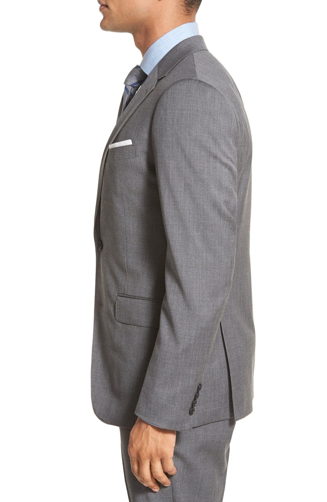 Trim Fit Solid Stretch Wool Sport Coat,                             Alternate thumbnail 4, color,