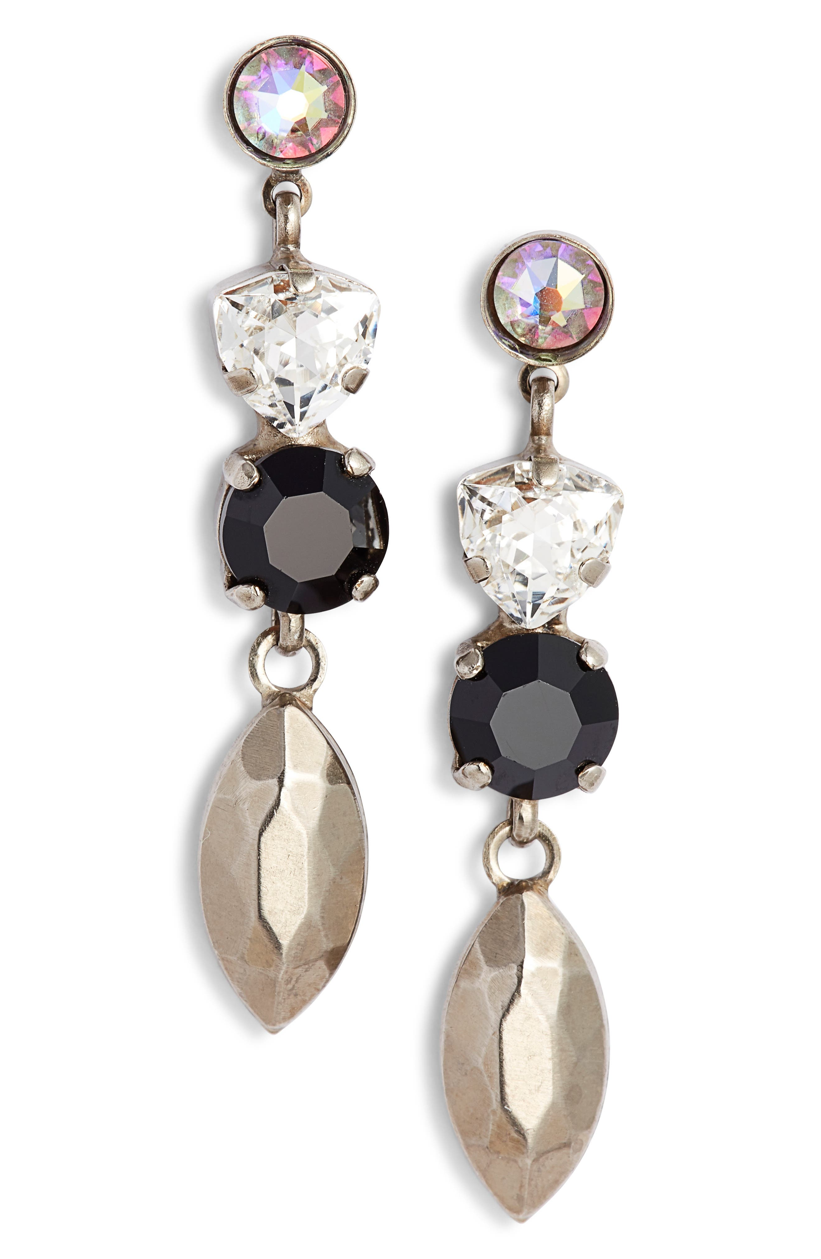 SORRELLI Metal & Crystal Drop Earrings in Black