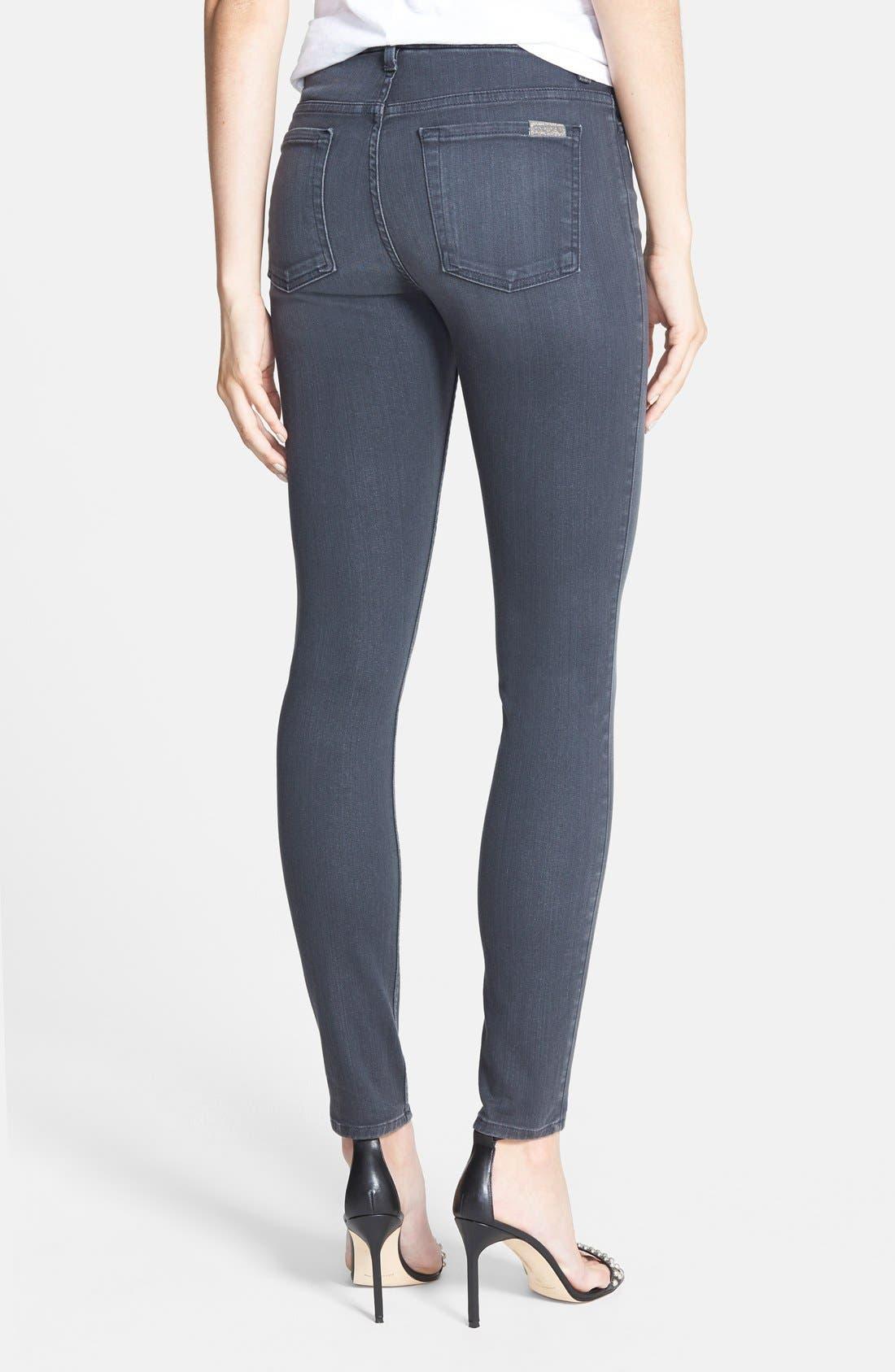 High Waist Ankle Skinny Jeans,                             Alternate thumbnail 3, color,                             BASTILLE GREY