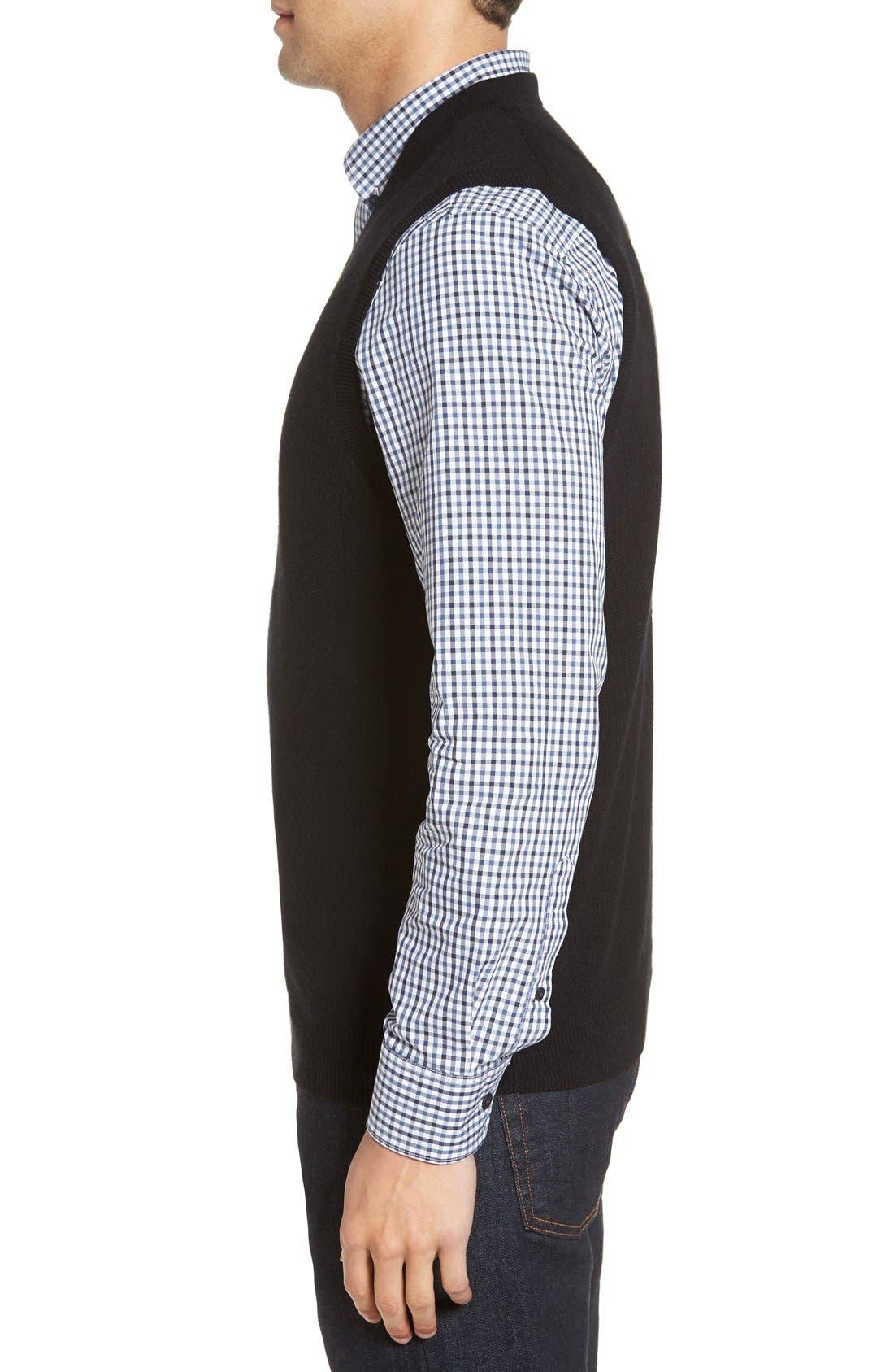 Cashmere V-Neck Sweater Vest,                             Alternate thumbnail 10, color,                             BLACK CAVIAR