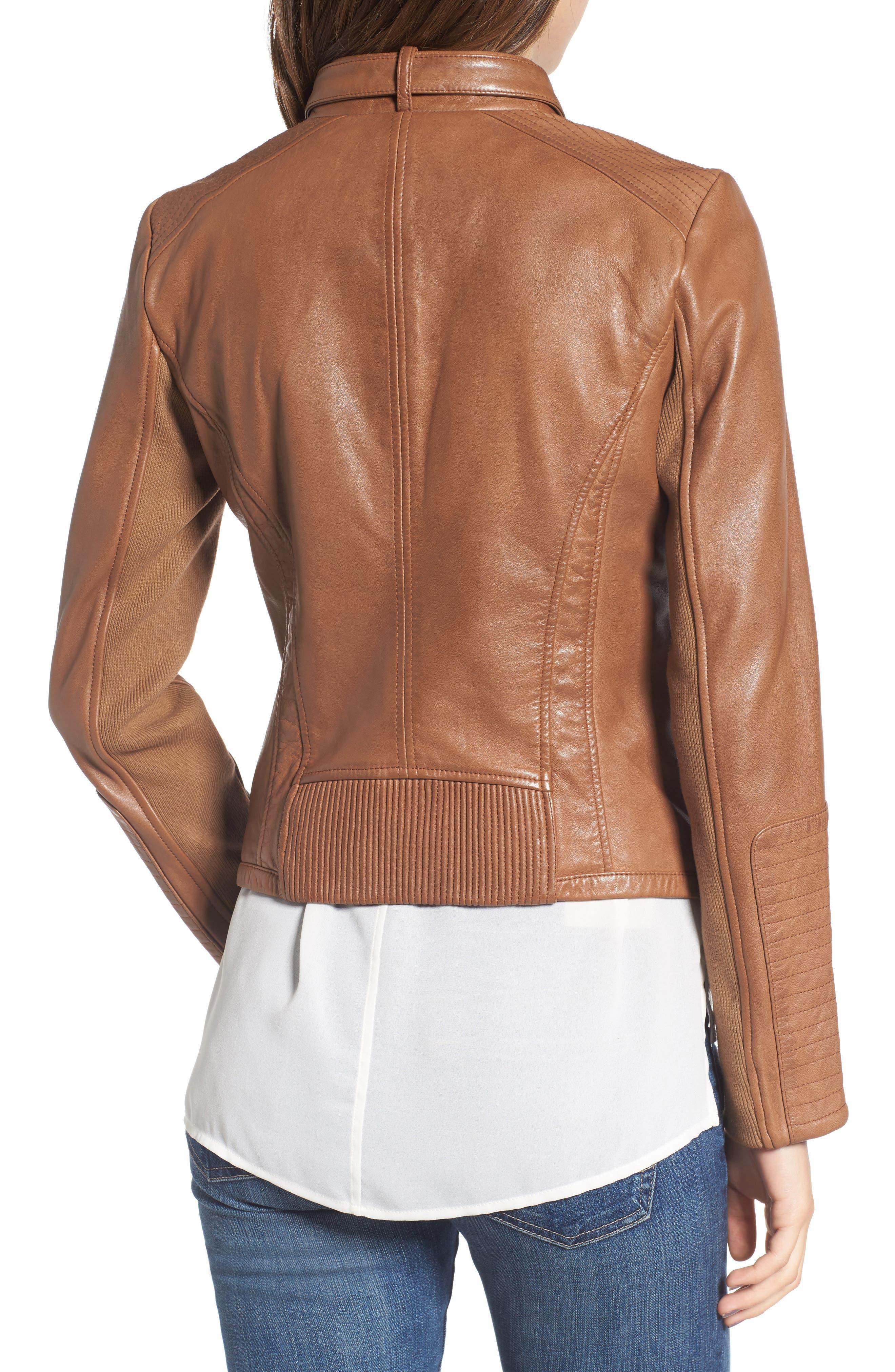 Zip Front Leather Biker Jacket,                             Alternate thumbnail 7, color,