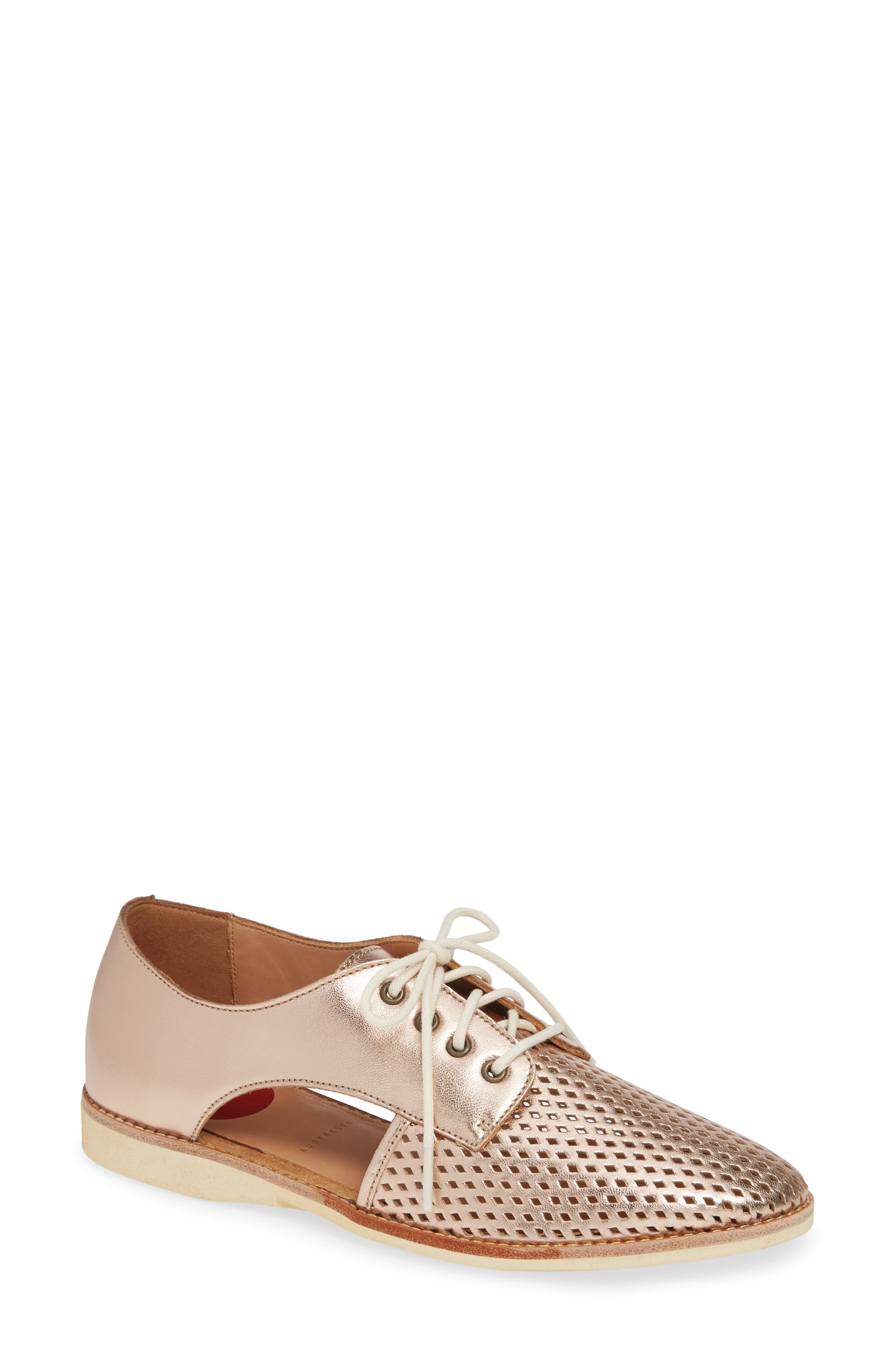 ROLLIE Sidecut Punch Perforated Derby in Rose Gold Leather