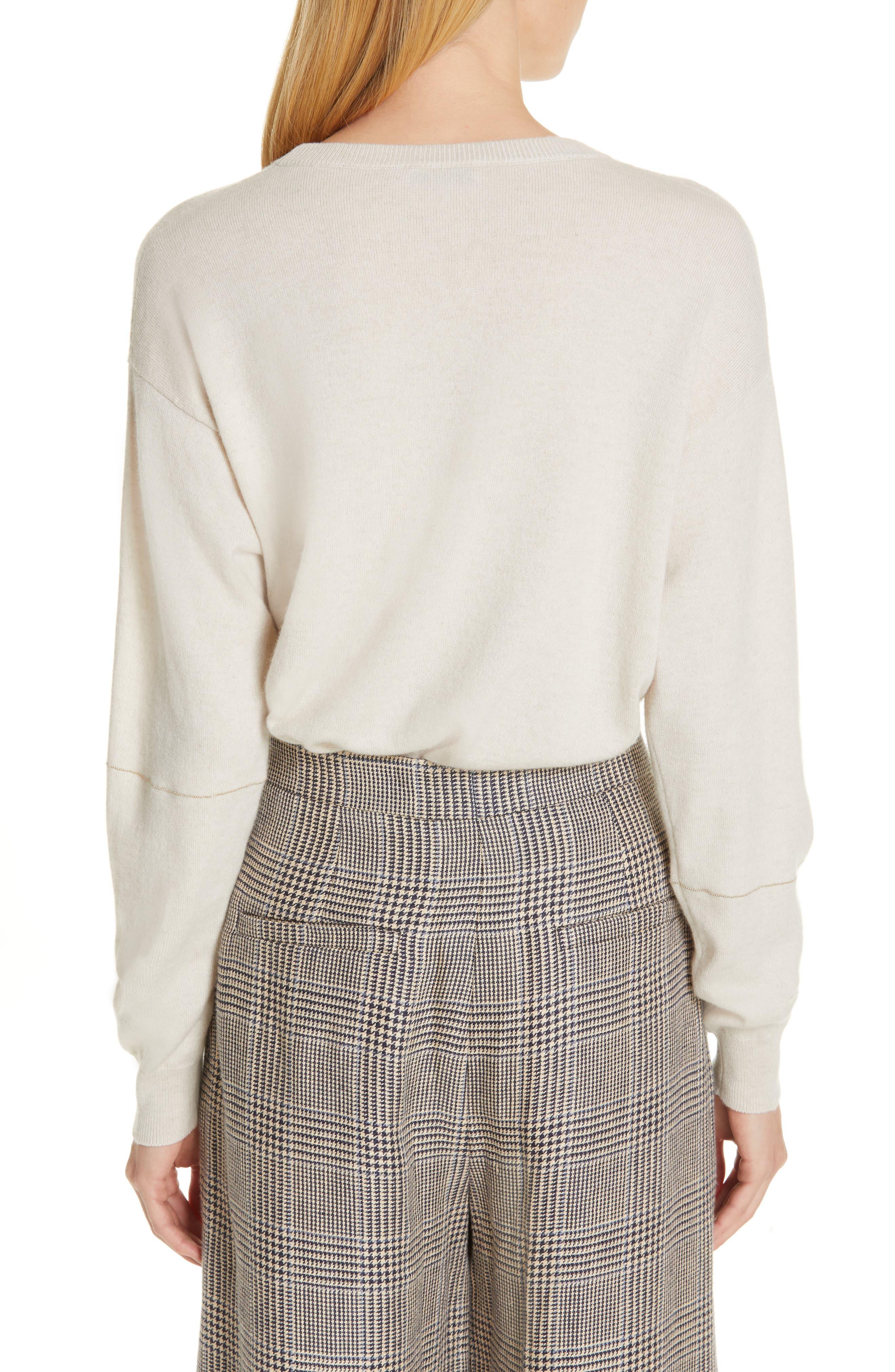 Monili Patchwork Cashmere Sweater,                             Alternate thumbnail 2, color,                             BUTTERMILK