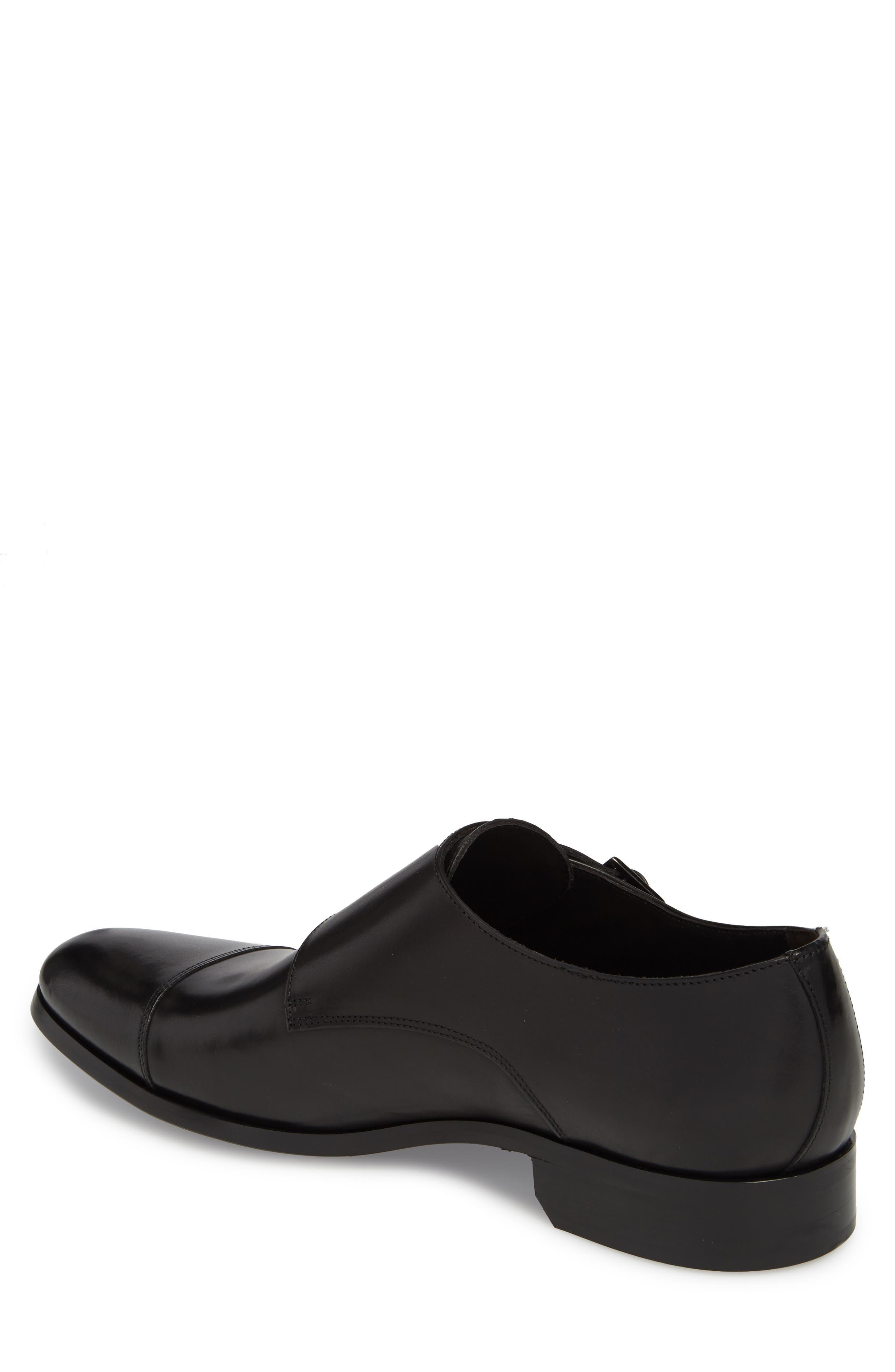 Bankston Cap Toe Double Strap Monk Shoe,                             Alternate thumbnail 2, color,                             BLACK LEATHER