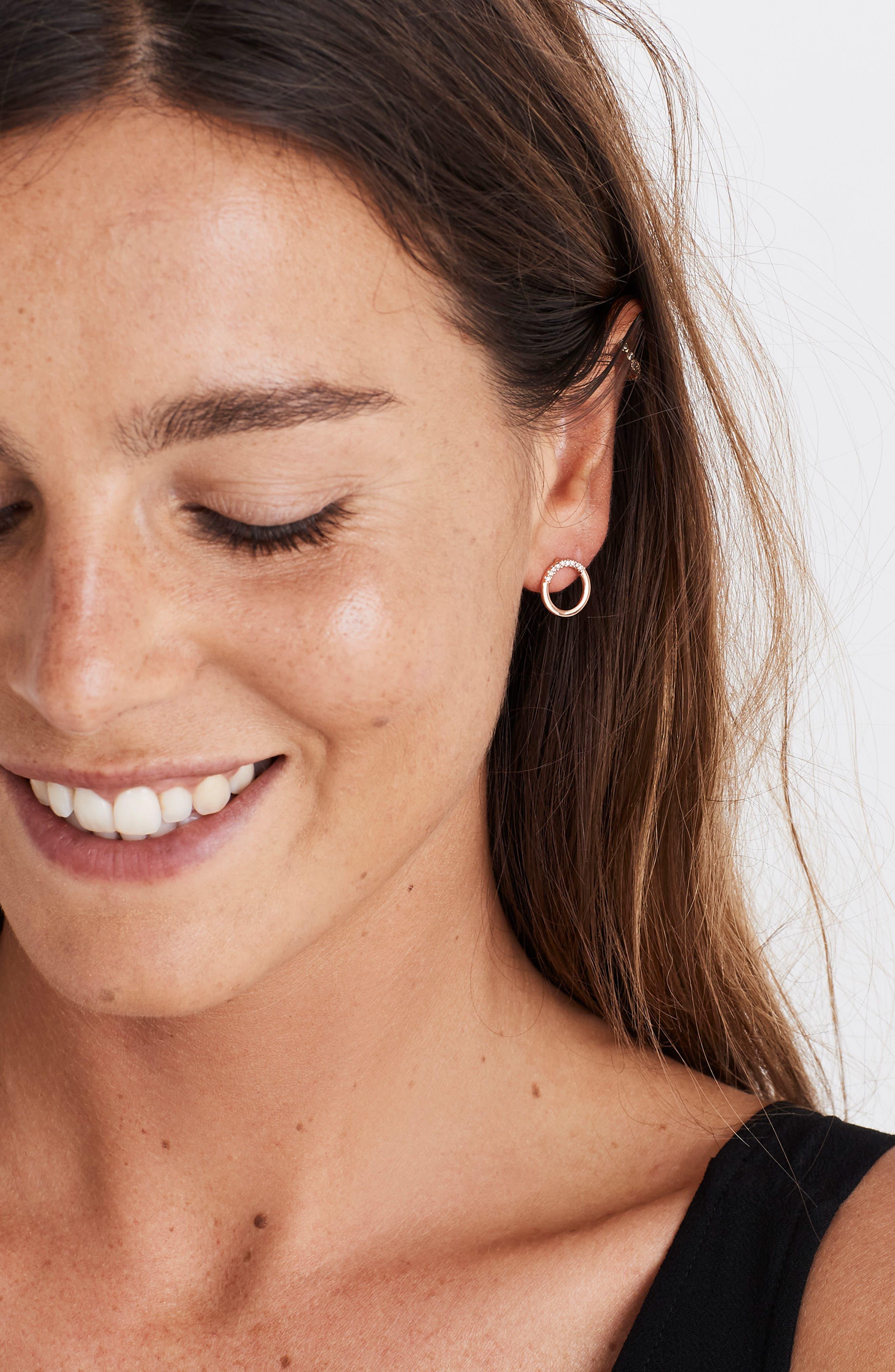 Pavé Circle Stud Earrings, Main, color, 710