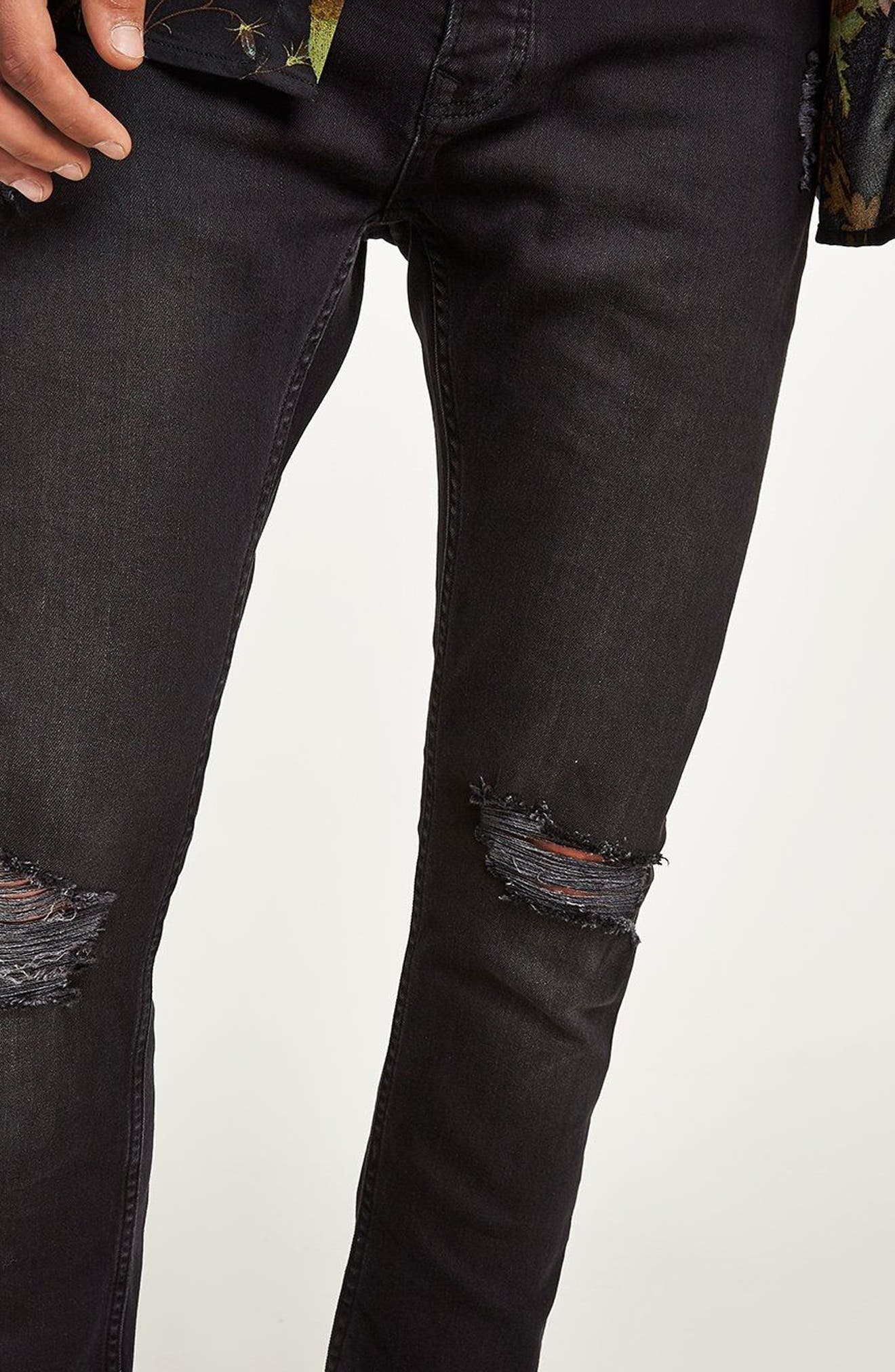 TOPMAN,                             Ripped Stretch Skinny Fit Jeans,                             Alternate thumbnail 7, color,                             001