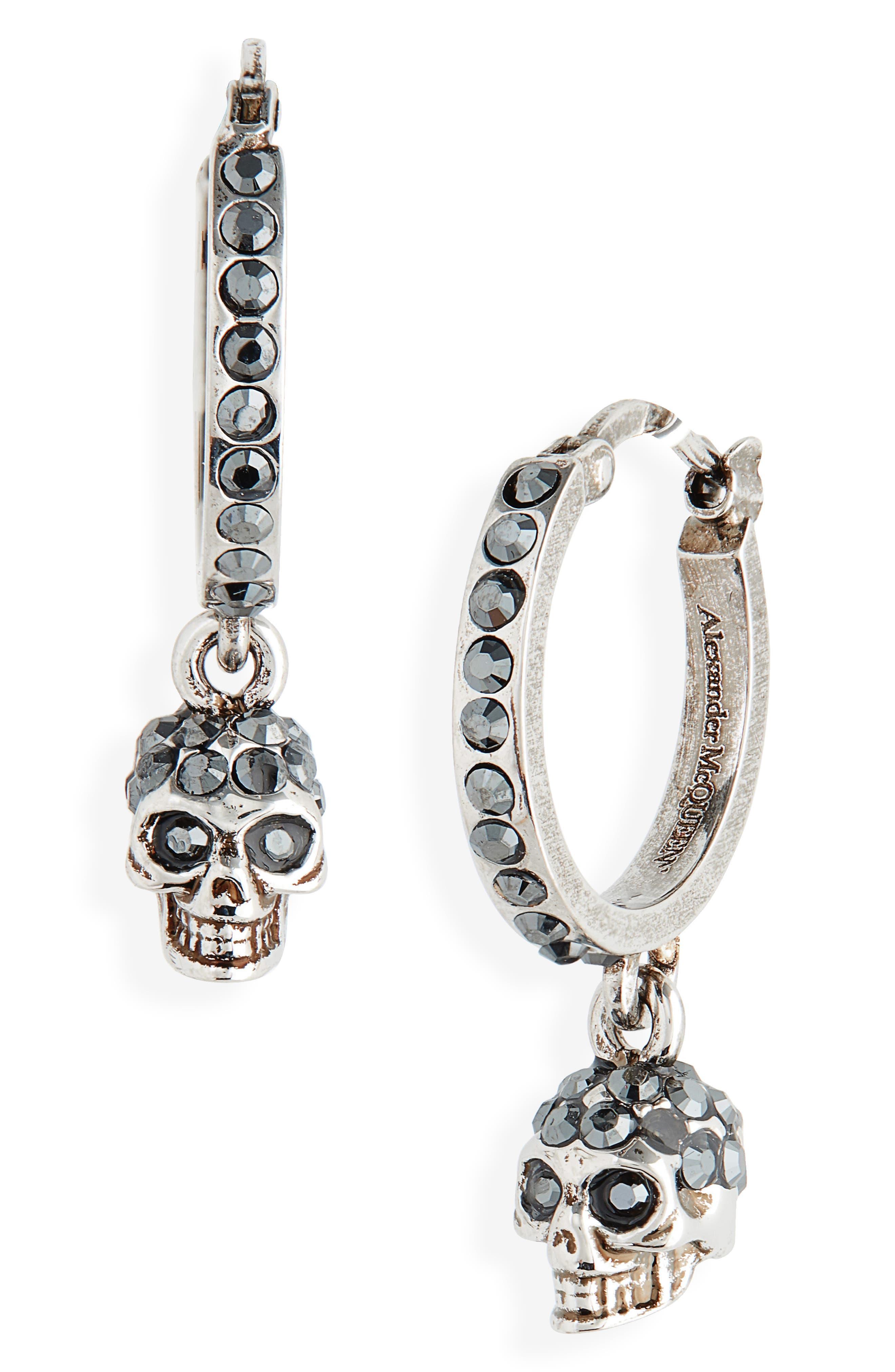Skull Mini Hoop Earrings, Main, color, 040