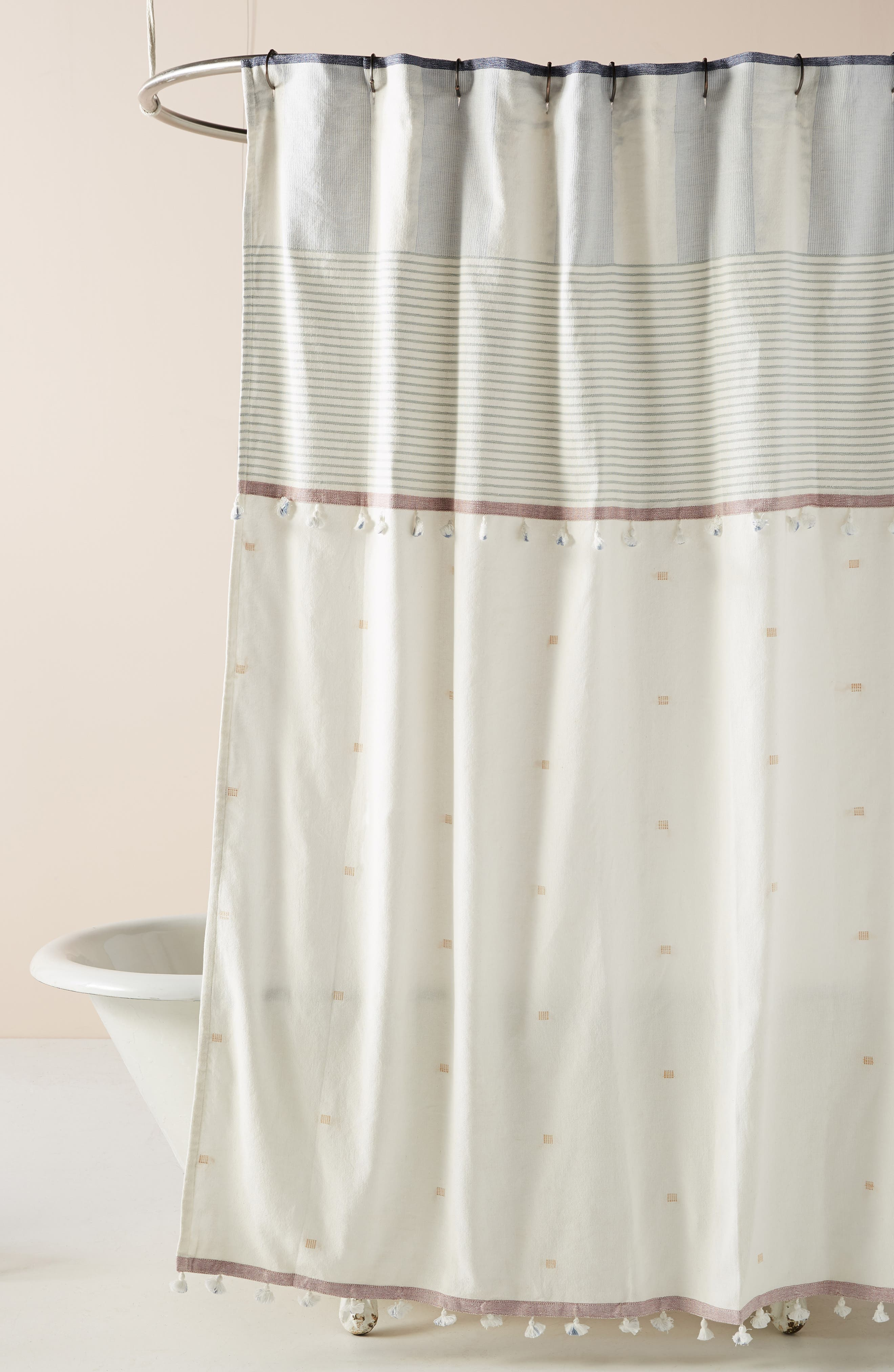 Rayas Shower Curtain, Main, color, BLUE