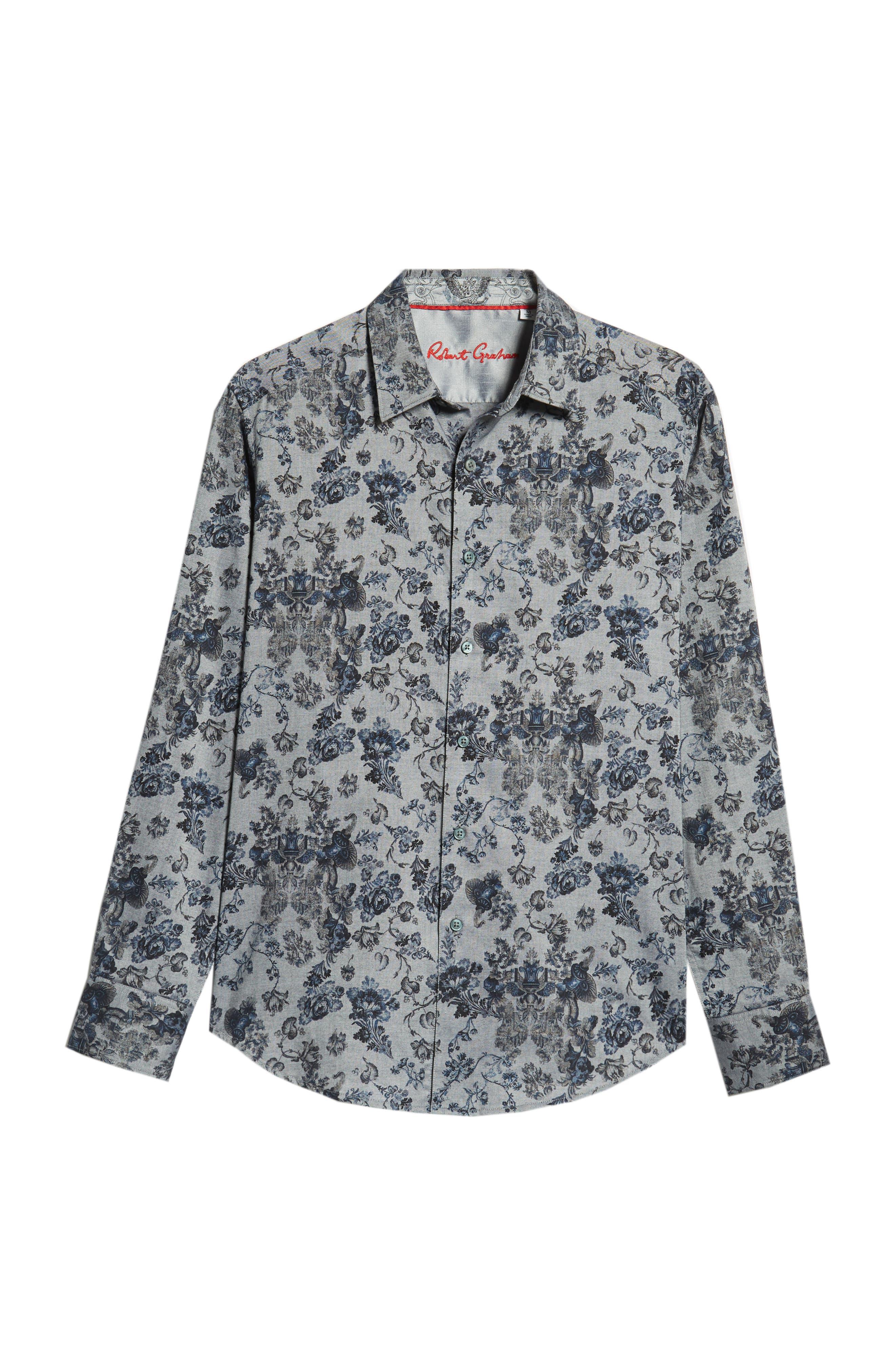 Barker Classic Fit Floral Sport Shirt,                             Alternate thumbnail 5, color,                             BLUE
