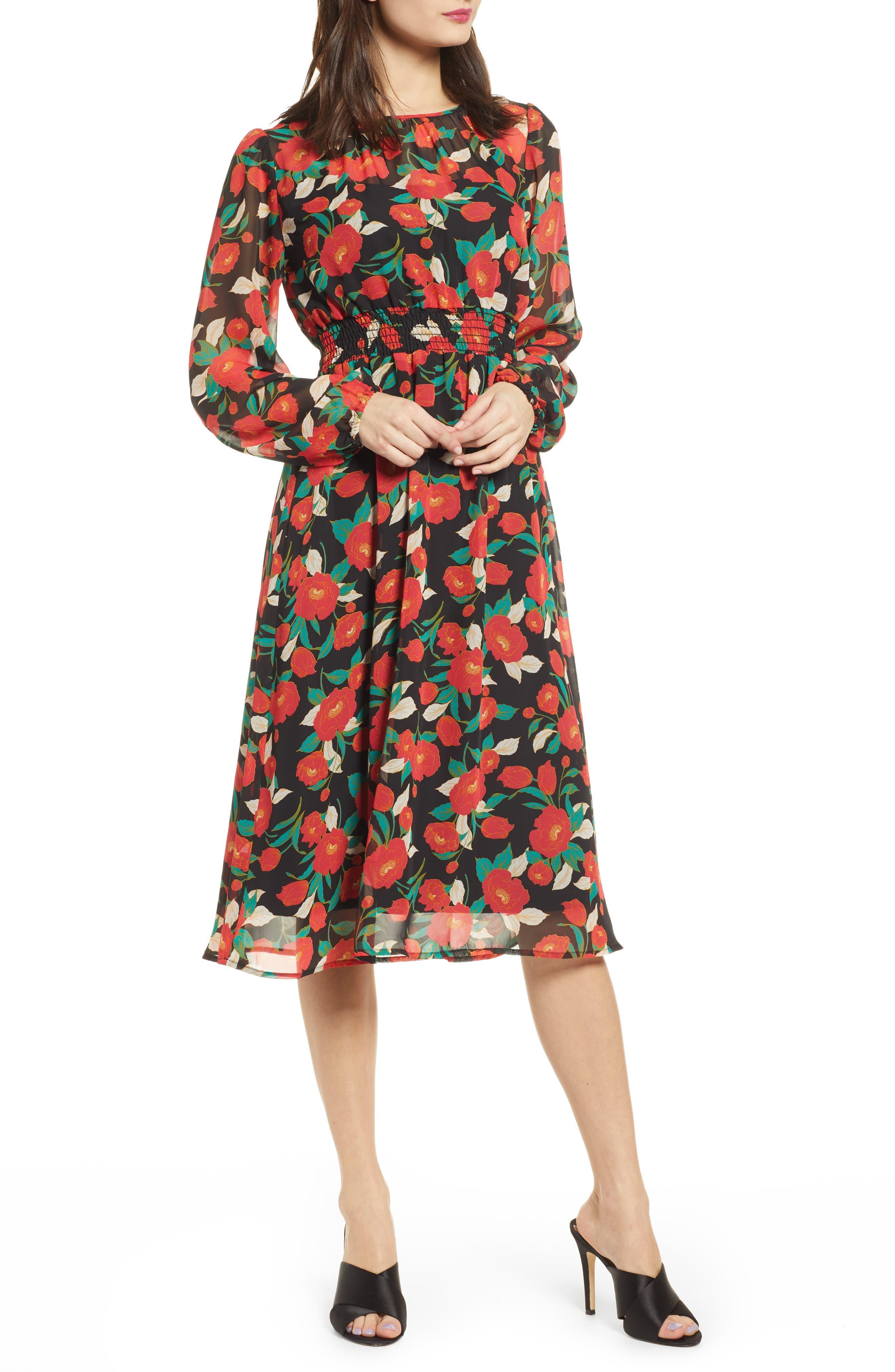 Leith Long Sleeve Chiffon Dress, Black