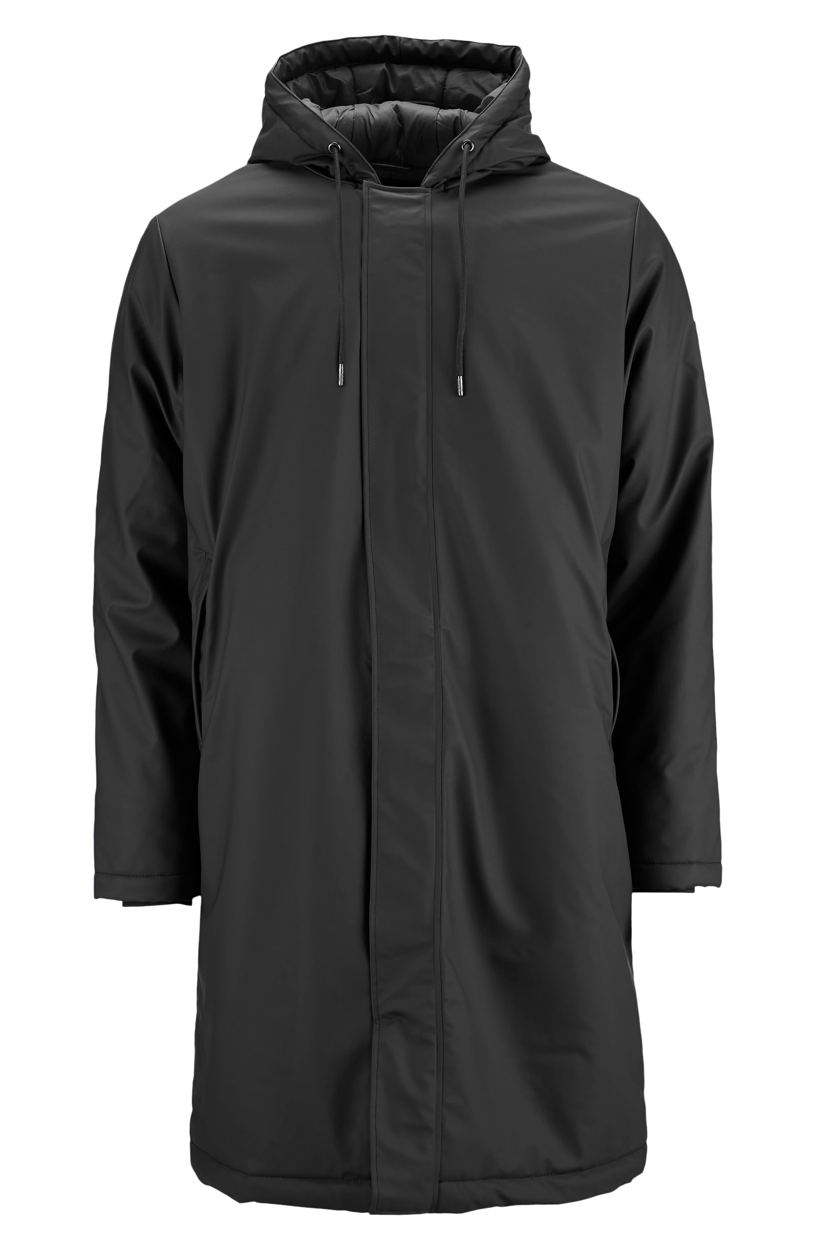 Thermal Hooded Raincoat,                             Alternate thumbnail 6, color,                             BLACK