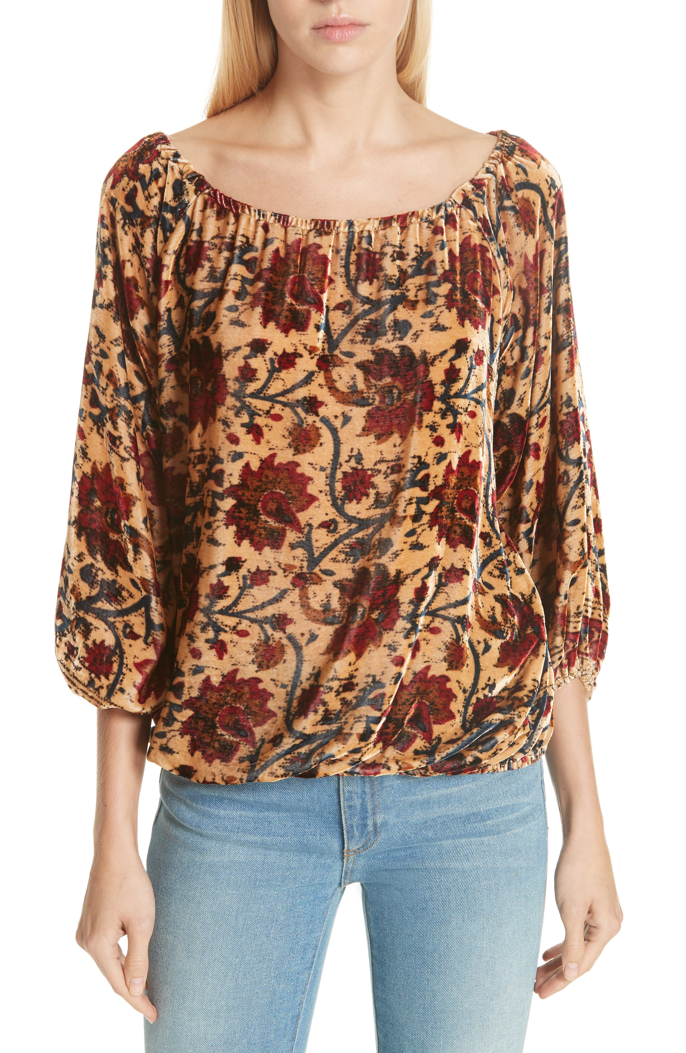 Cherie Velvet Blouse,                             Main thumbnail 1, color,                             FLORAL MULTI