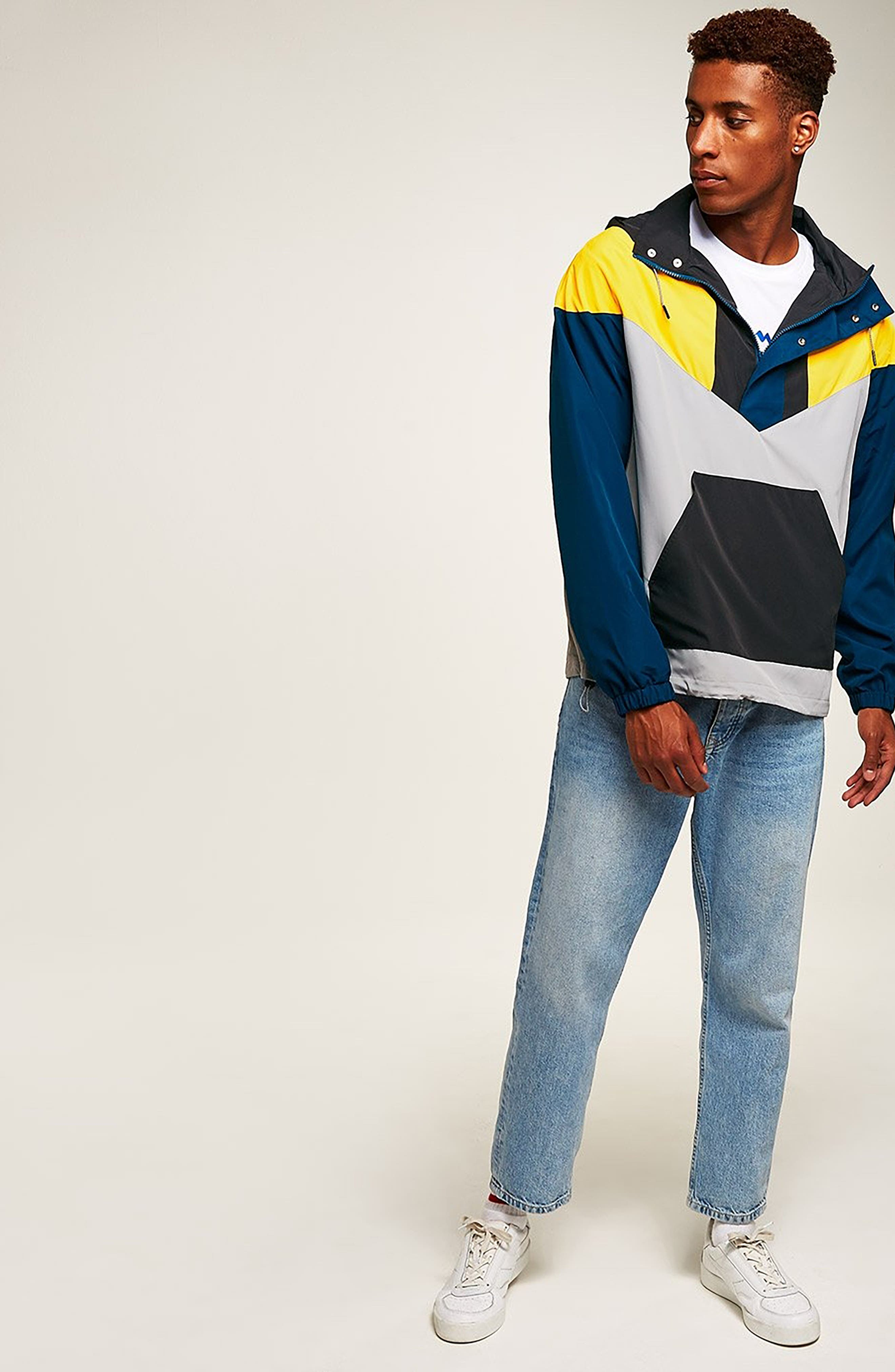 Half-Zip Pullover Hooded Jacket,                             Alternate thumbnail 6, color,                             001