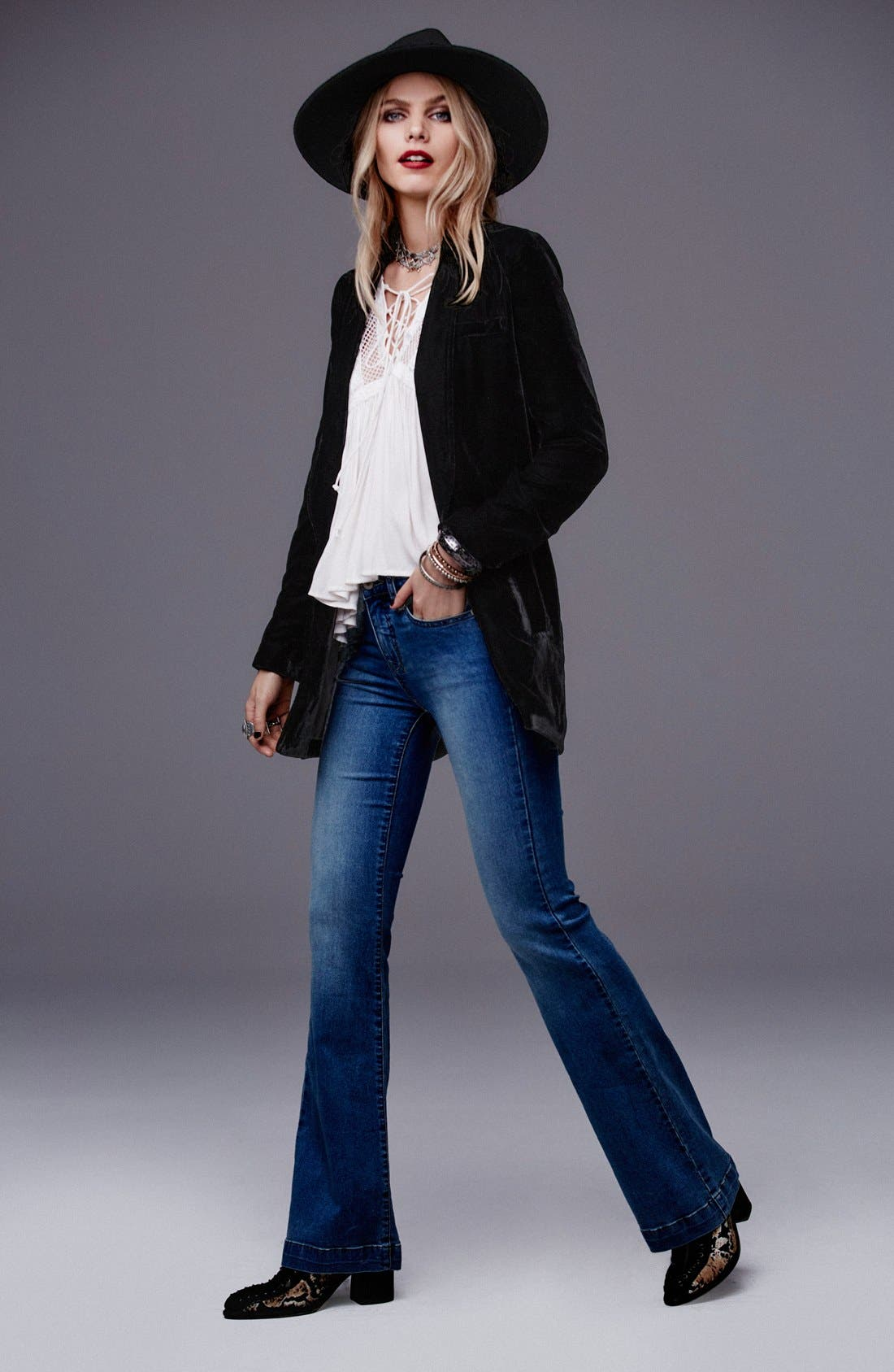 Stretch Mid Rise Flare Jeans,                             Alternate thumbnail 3, color,                             400