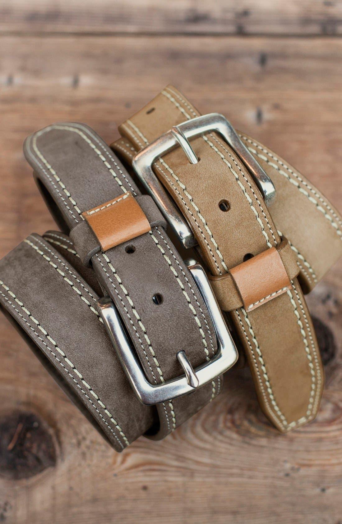 'Alpine' Nubuck Leather Belt,                             Alternate thumbnail 2, color,                             GRAY
