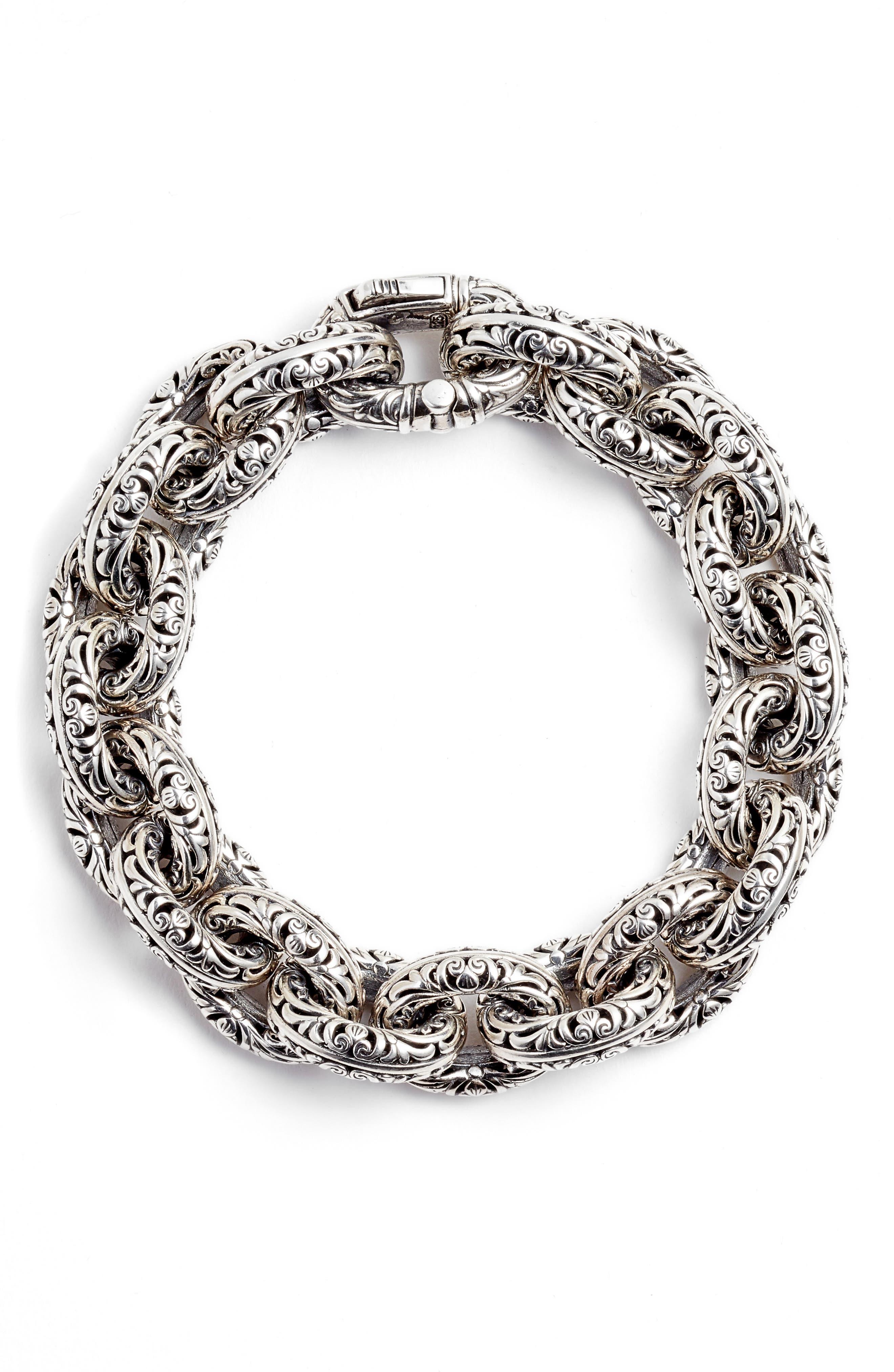 Etched Sterling Silver Filigree Bracelet,                         Main,                         color, SILVER